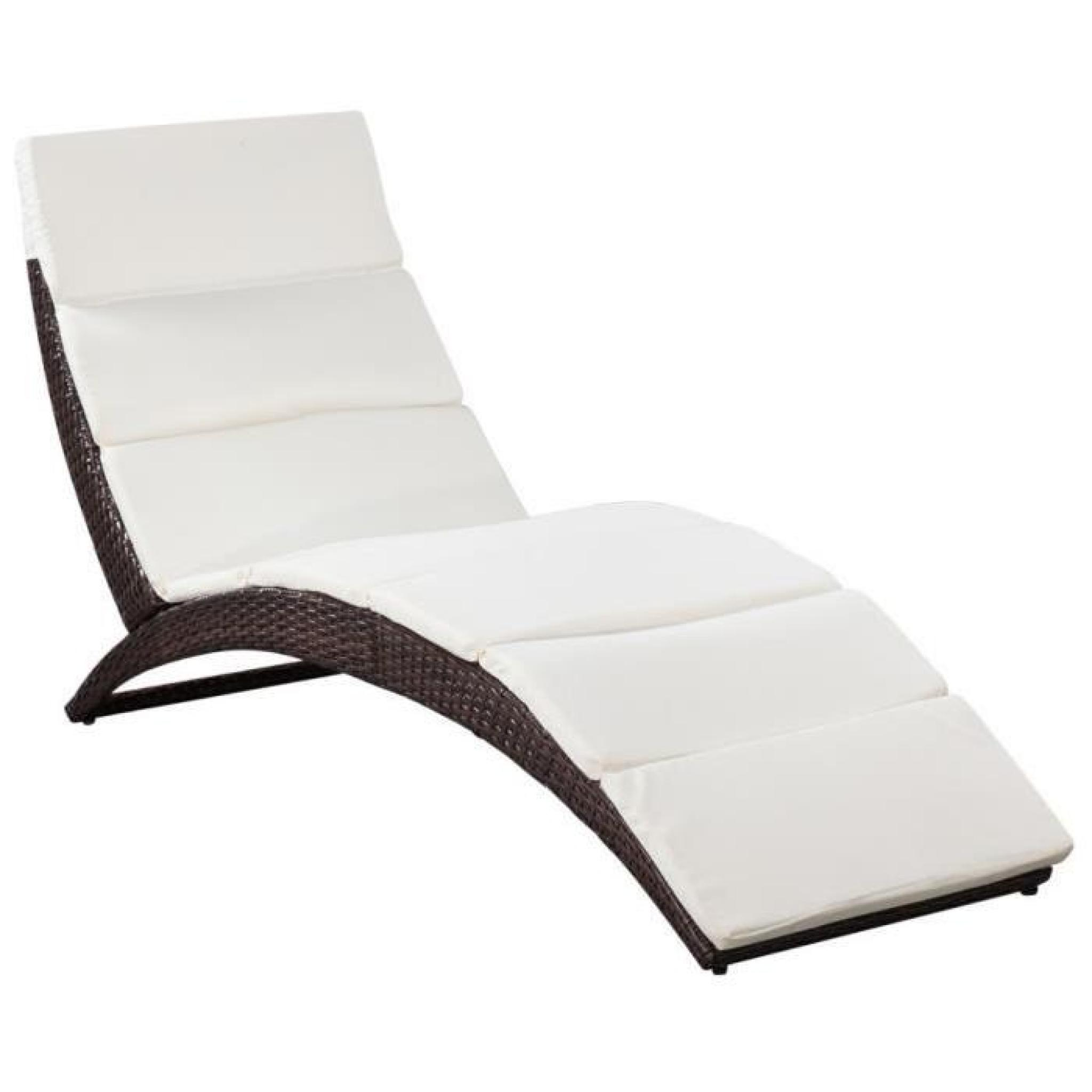 chaise longue pliable avec coussin en poly rotin marron achat vente transat de jardin pas cher. Black Bedroom Furniture Sets. Home Design Ideas
