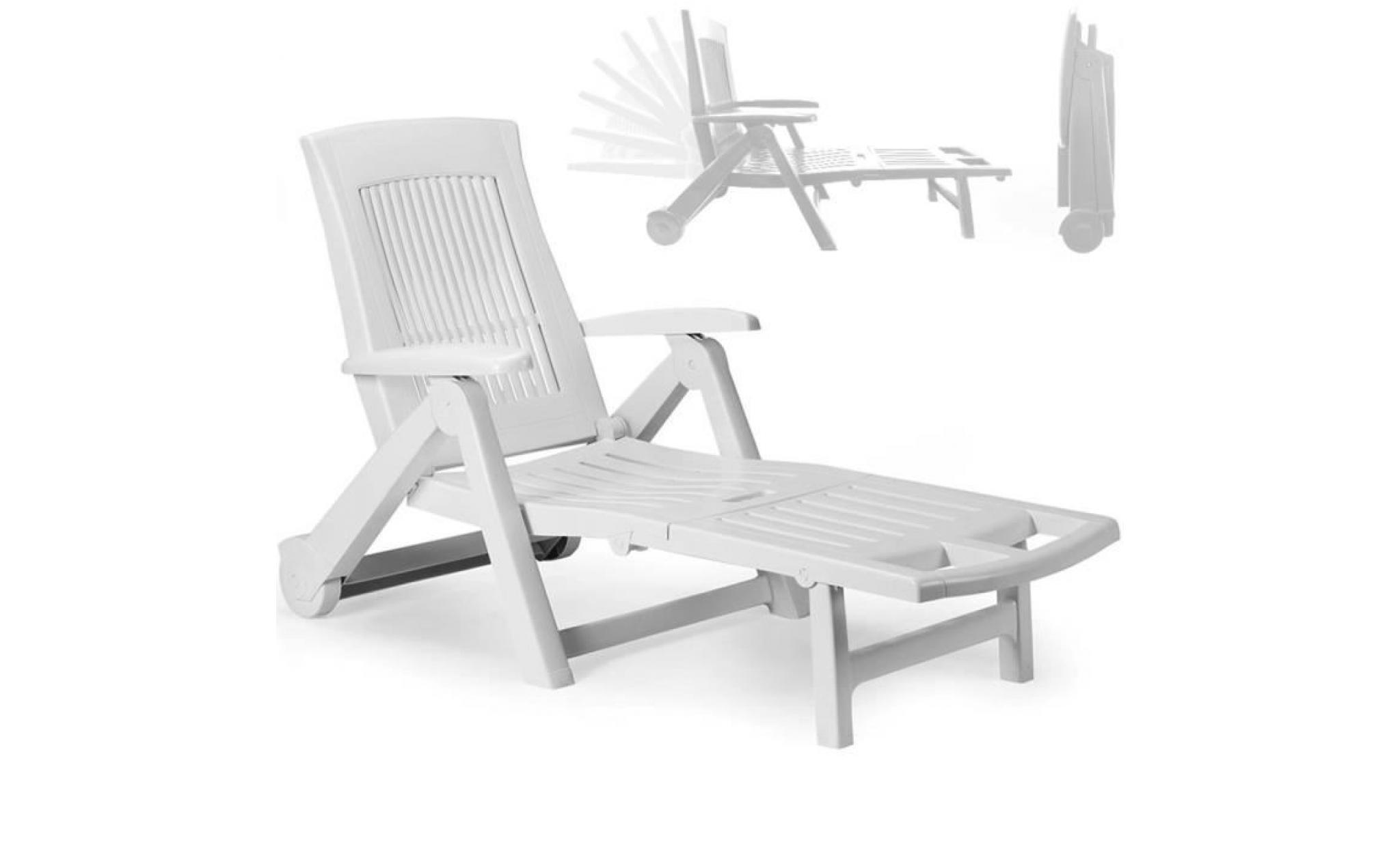 Chaise longue- Pliable PVC blanc Dossier réglable