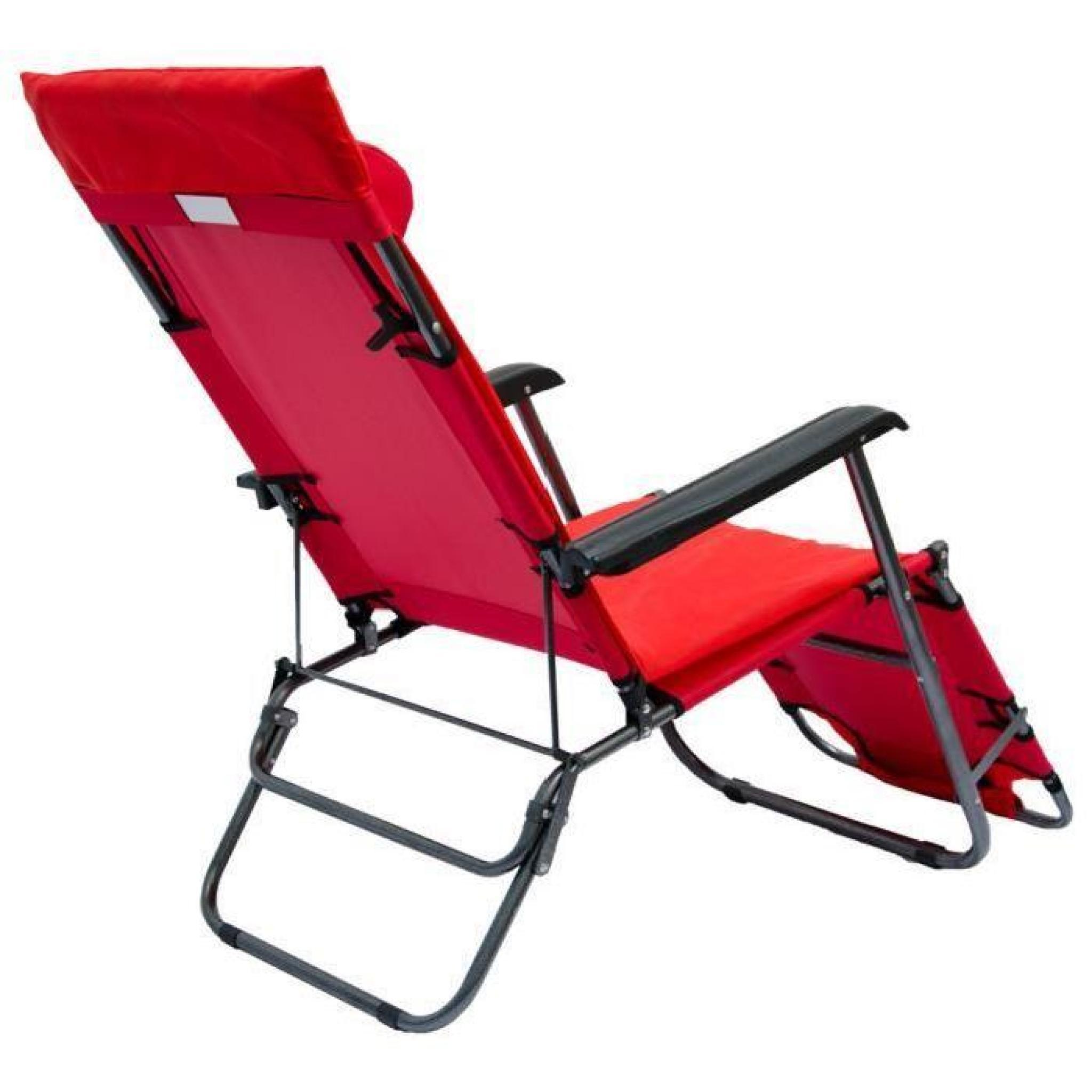 Chaise longue pliante 178x60cm dossier inclinable - Chaise longue de jardin pas cher ...