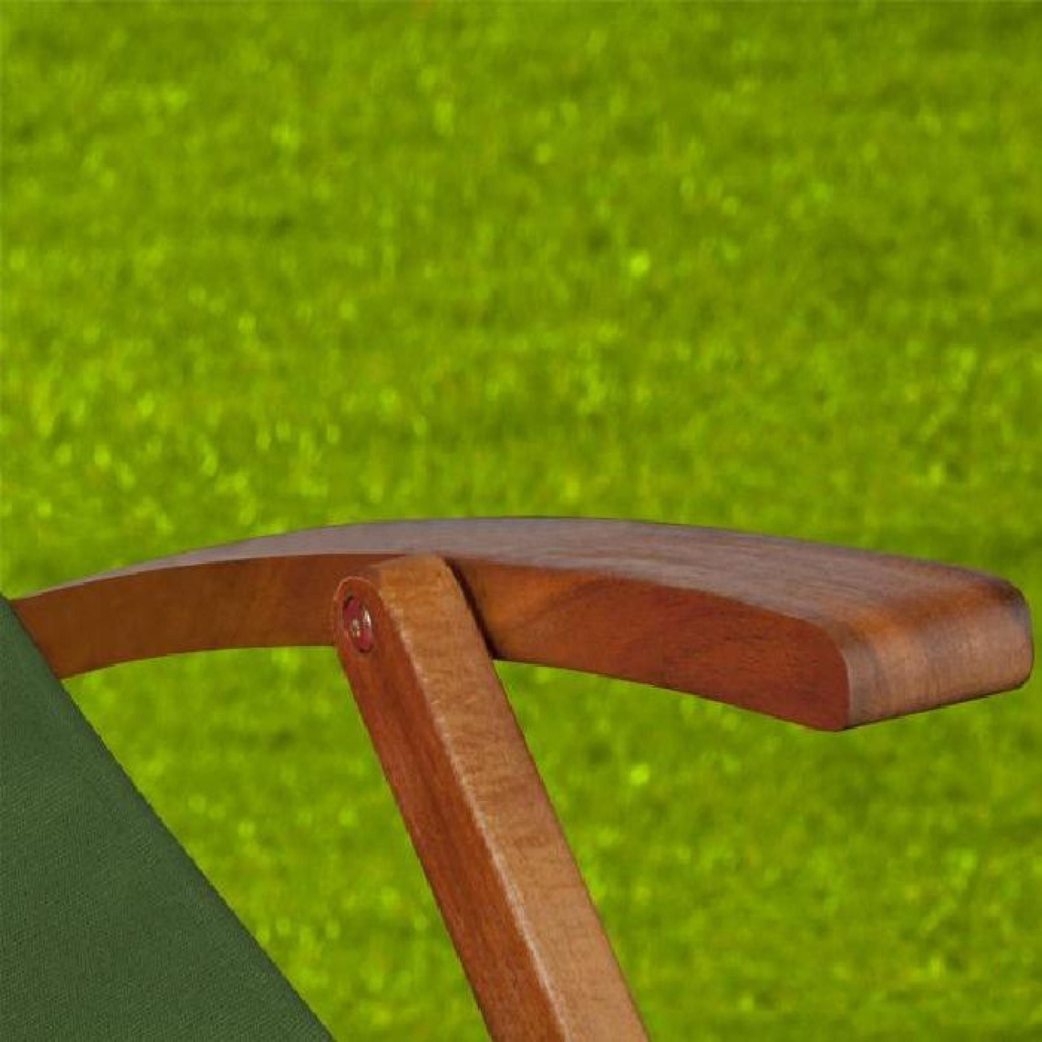 Chaise longue pliante en bois tissu vert achat vente - Chaise longue de jardin pas cher ...