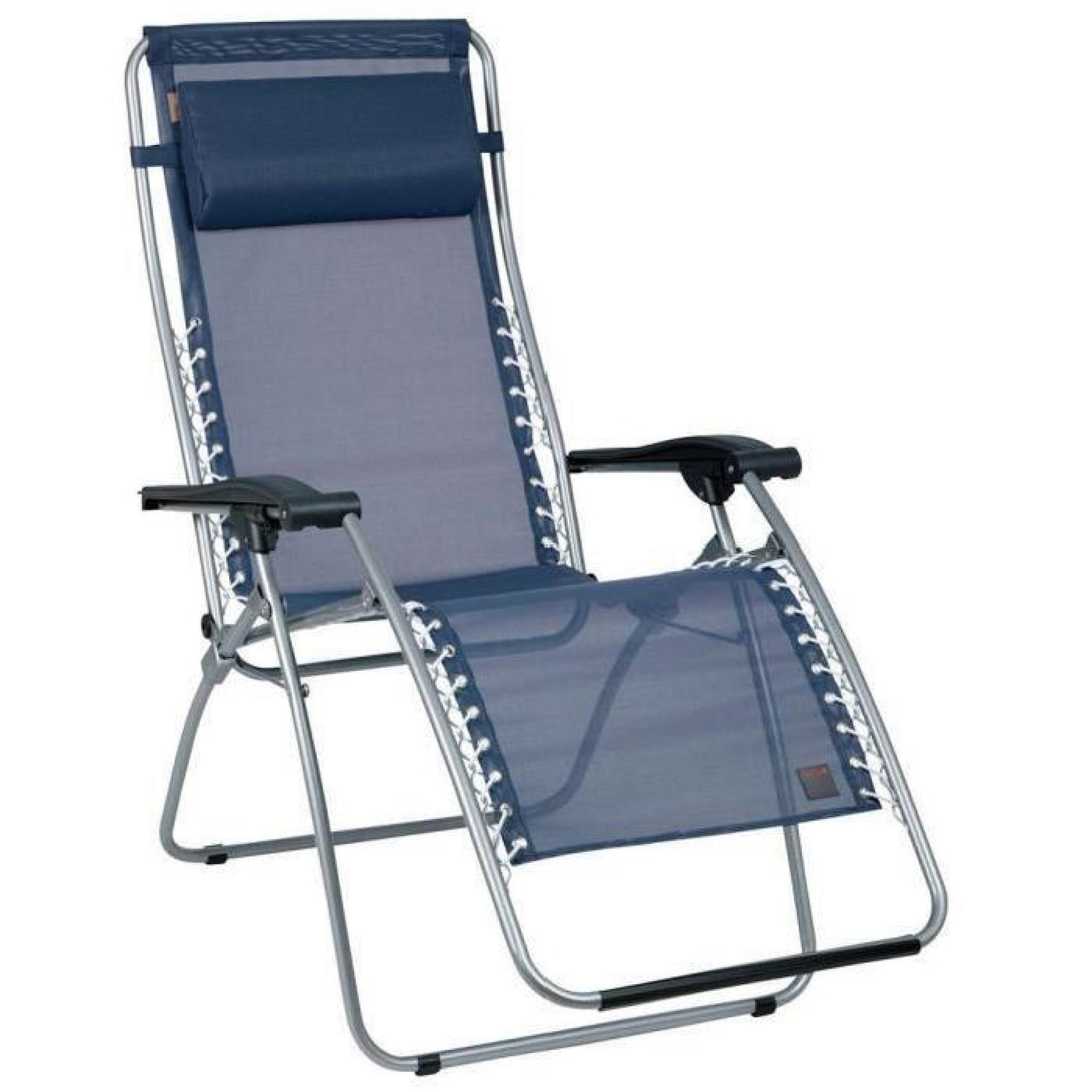 Chaise longue relax multiposition pliante en acier et toile Batyline ...