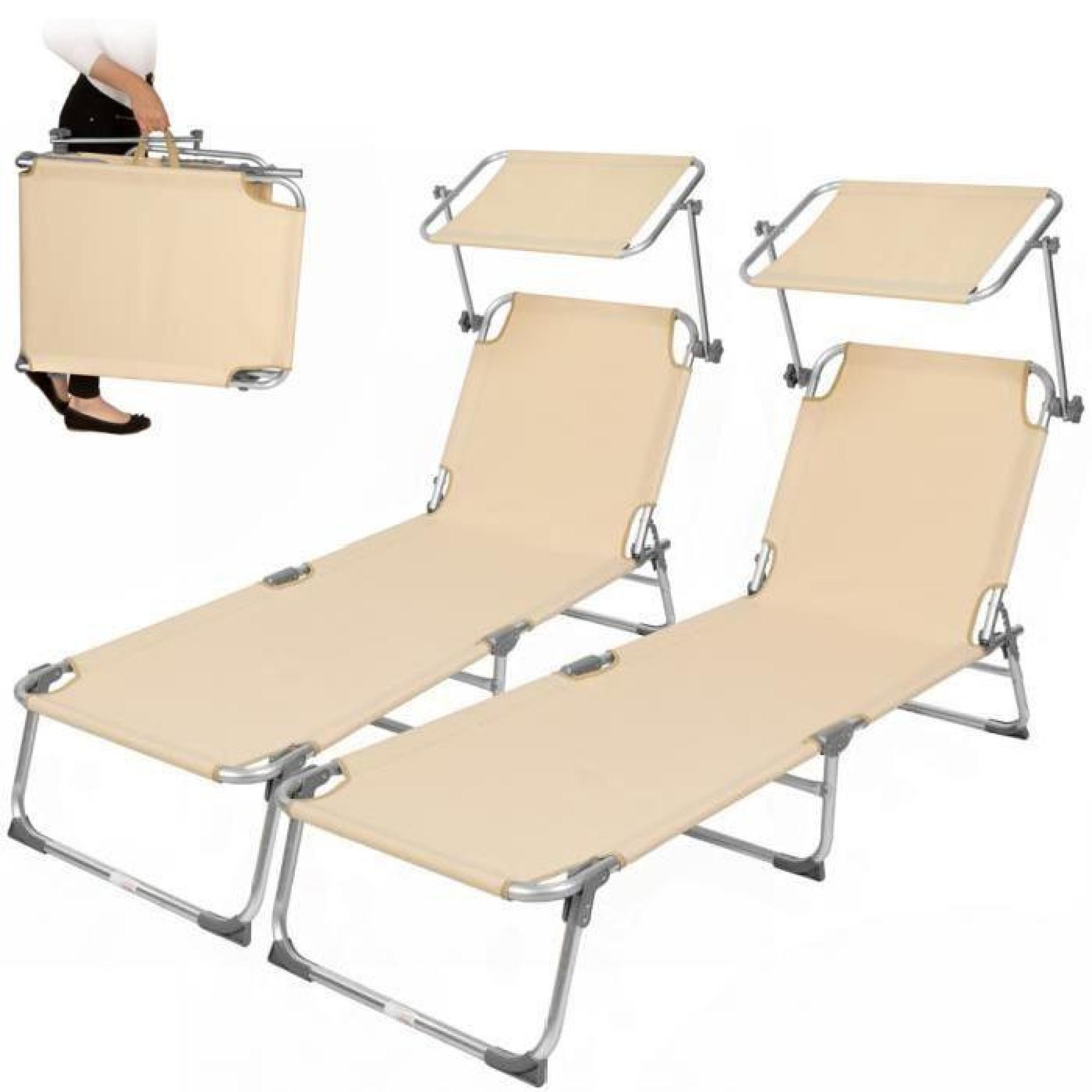 chaise longue transat bain de soleil pare soleil multi positions pliable 190 cm beige. Black Bedroom Furniture Sets. Home Design Ideas