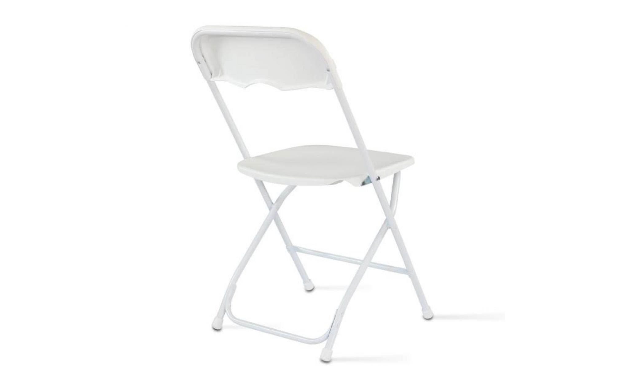 Chaise pliante de jardin blanche achat vente chaise de - Chaise jardin pliante plastique ...