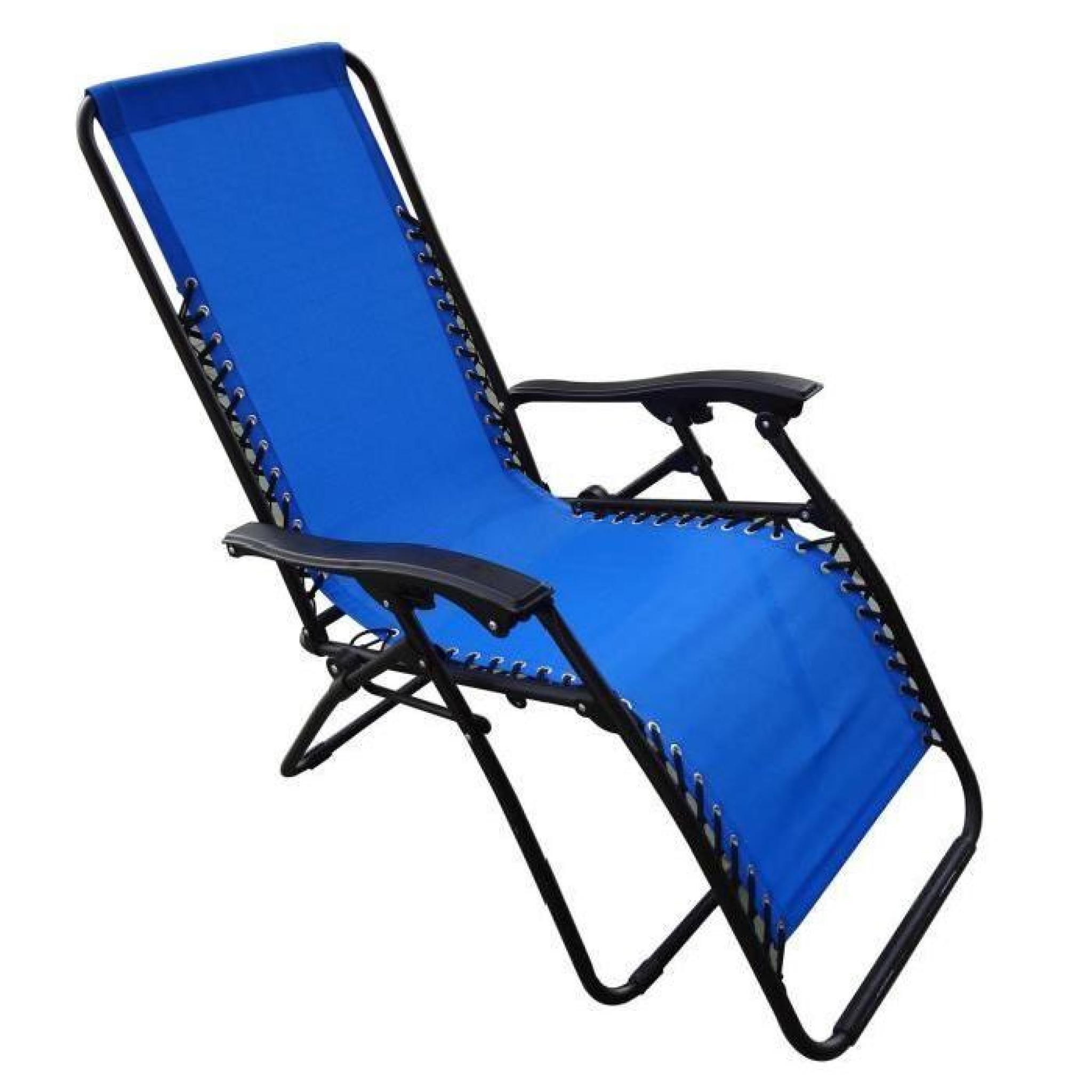 chaise pliante en toile camping bleu achat vente transat de jardin pas cher. Black Bedroom Furniture Sets. Home Design Ideas