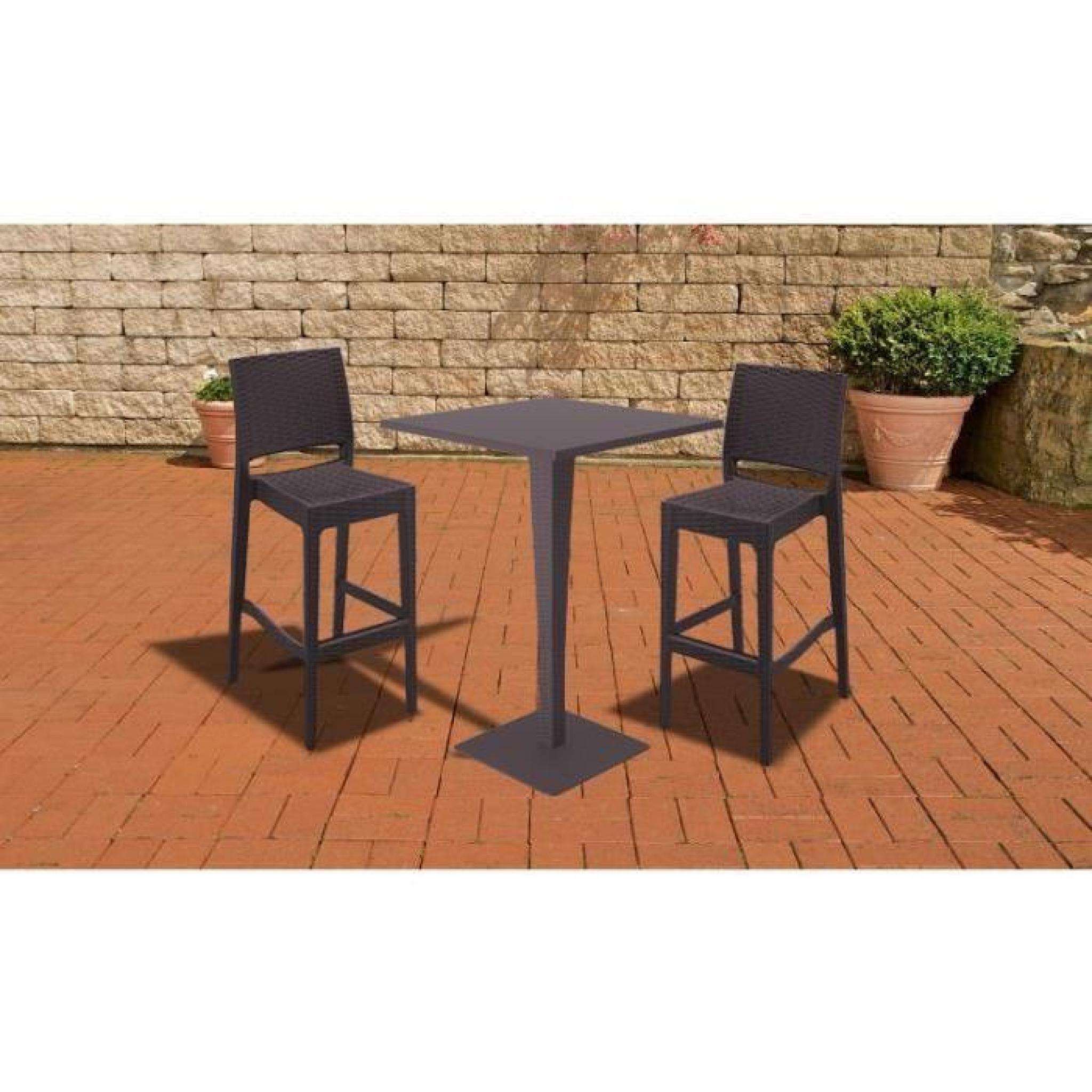 CLP Table d\'extérieure RIVA, carrée, 70 x 70 cm, hauteur 108 cm, en poly  rotin de haute qualité, idéale pour la gastronomie