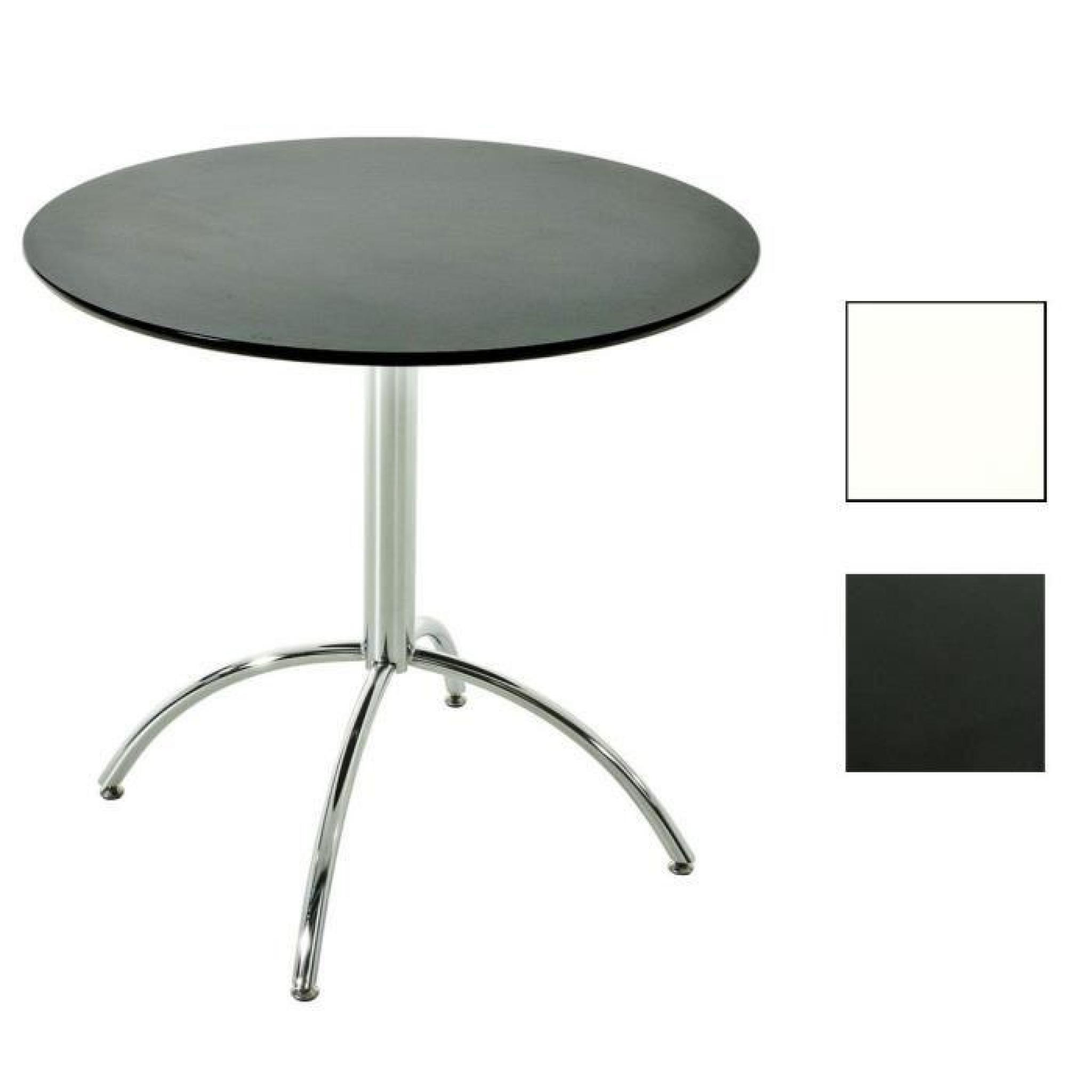CLP Table de bistro, ronde Ø 80 cm MARVILLE, bois/métal, hauteur 75 cm  diverses couleurs 75 cm Blanc