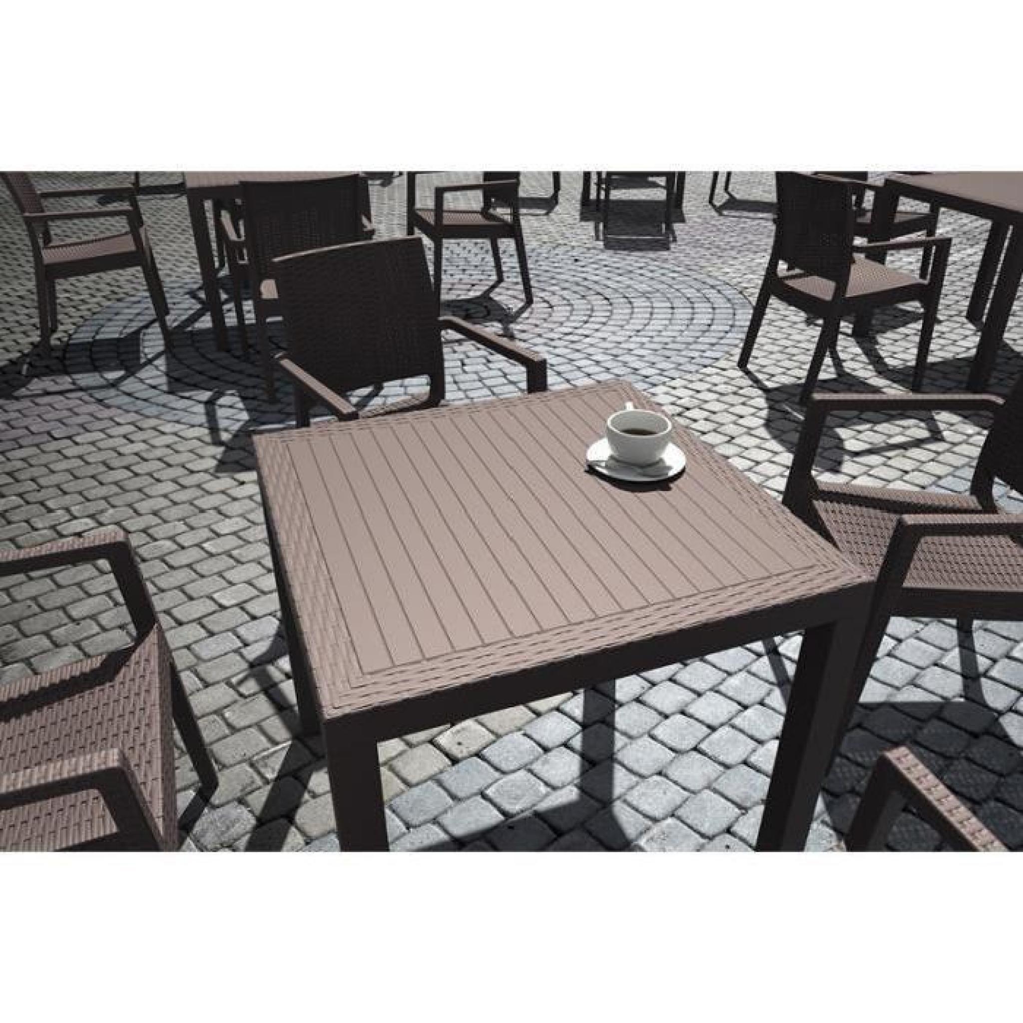 CLP Table de jardin ORLANDO 80 x 80 cm, poly rotin de haute qualité,  hauteur 75 cm