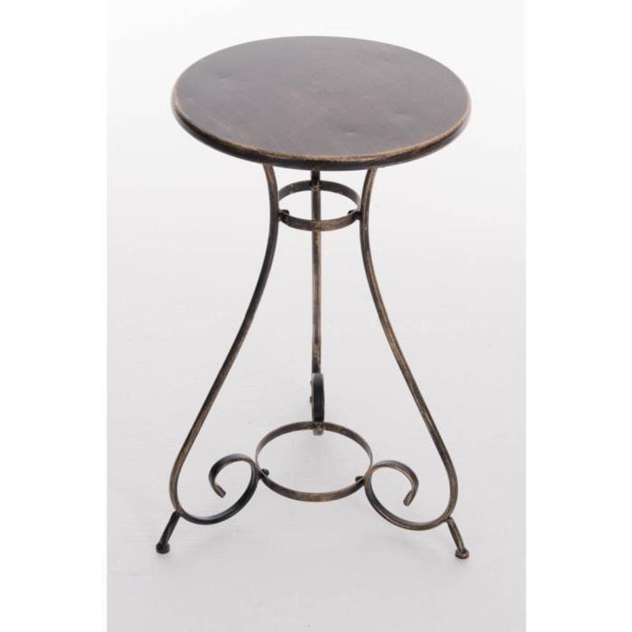 CLP Table ronde de jardin faite à la main en fer forgé ALAN ...