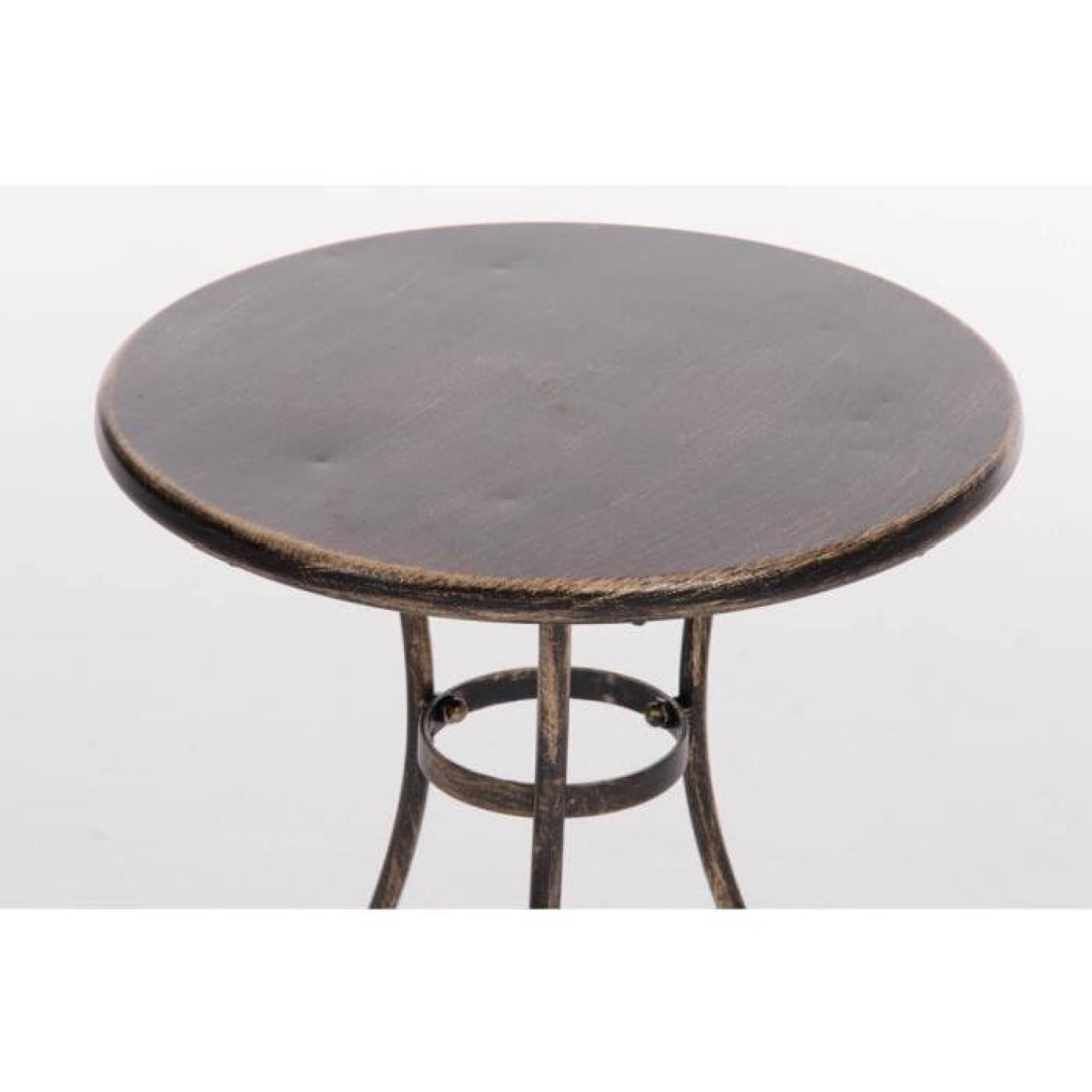 CLP Table ronde de jardin faite à la main en fer forgé ALAN, diamètre Ø 40  cm, au style nostalgique, 6 couleurs au choix