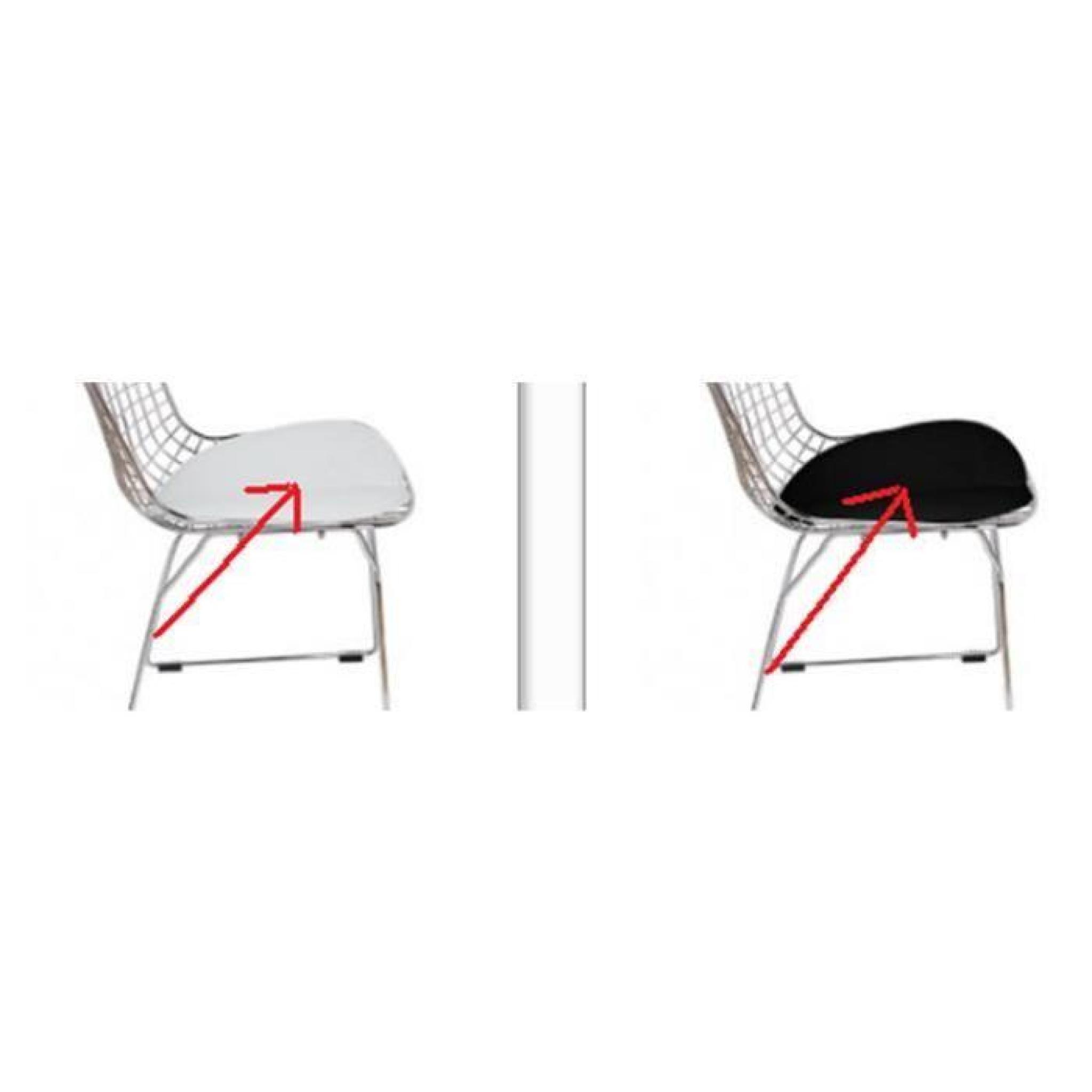 Coussin bertoia de rechange blanc noir pour chaise wire for Chaise de jardin noire