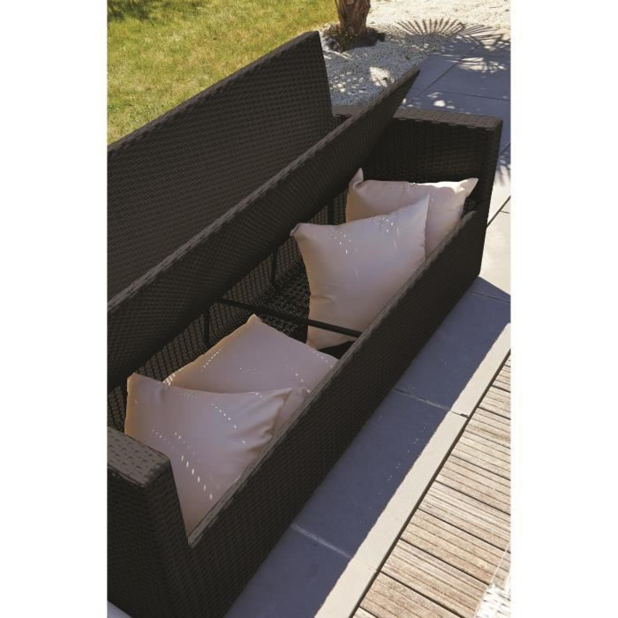 DCB GARDEN Salon de jardin Confort Fidji 1 table basse, 2 fauteuils et 1  banquette 3 places en résine tressée - Noir