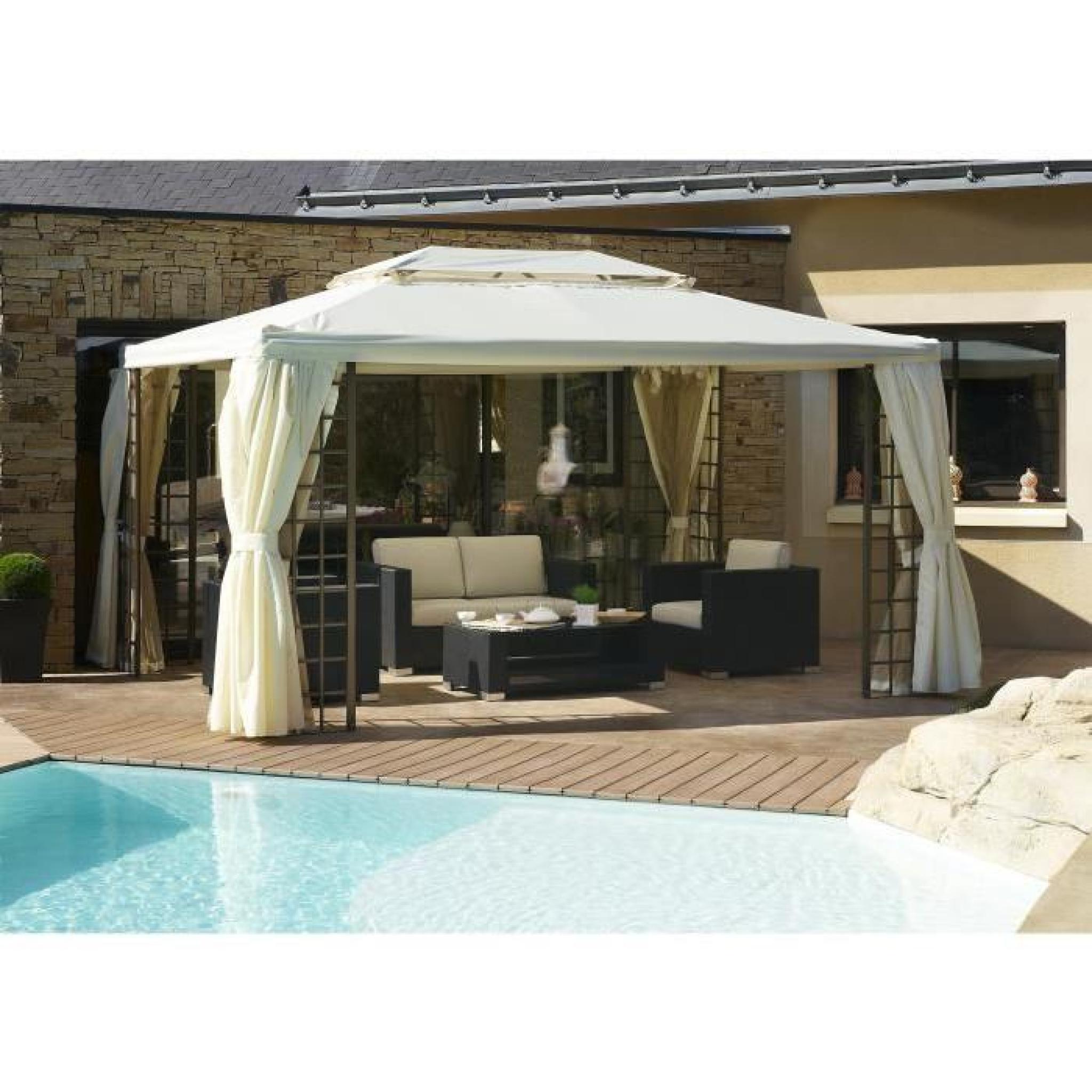 DCB GARDEN Tonnelle Roma avec 4 rideaux en aluminium et polyester ...