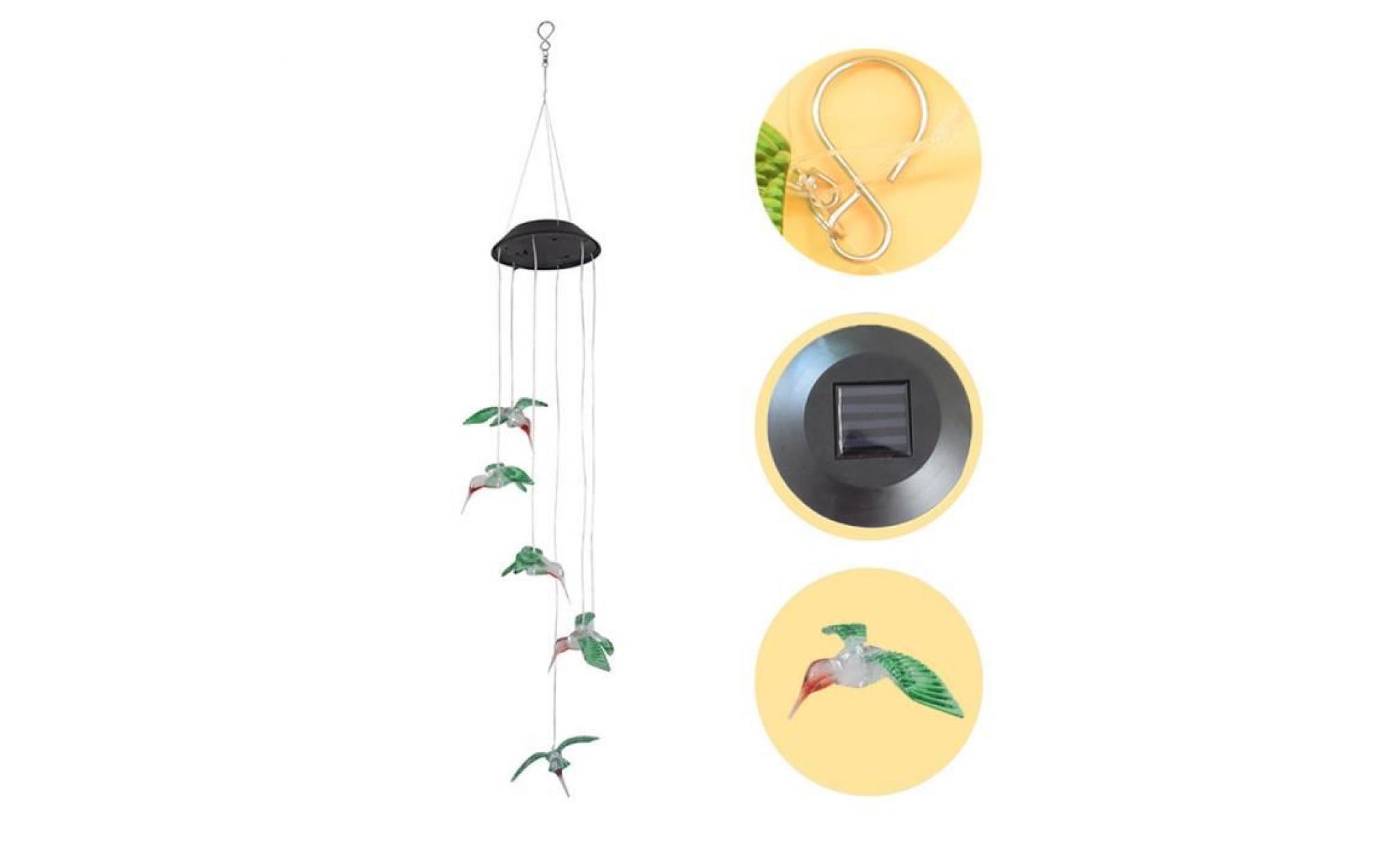 Carillon Lumineux pour ext/érieur et int/érieur SYWAN Carillon /éolien /à /énergie Solaire /à LED avec Changement de Couleur en Forme de Colibri Jardinage et all/ée Lampe /à Suspendre