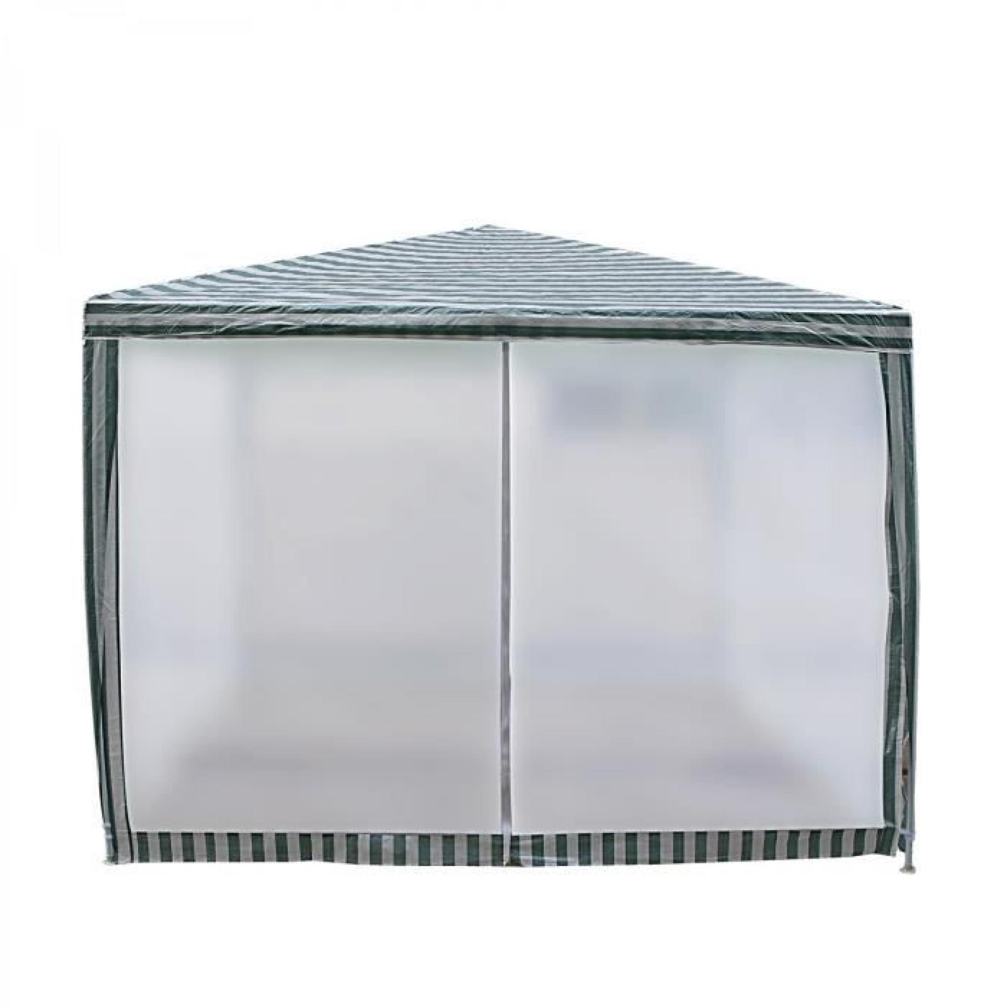 DORAISLAND - Tente de jardin Pergola 3x3m blanc et vert tonnelle
