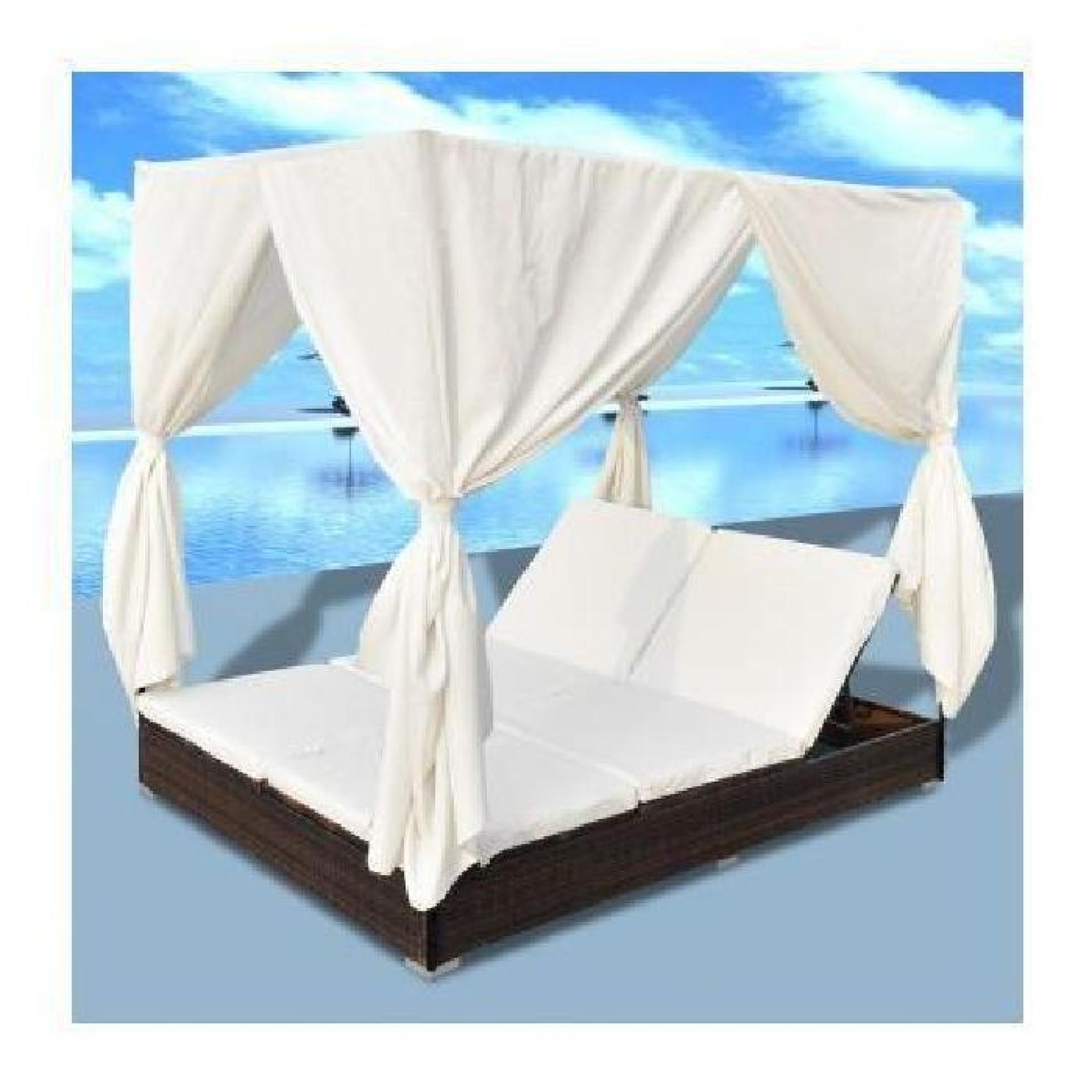 Double bain de soleil avec rideau brun maja achat - Bain de soleil double pas cher ...