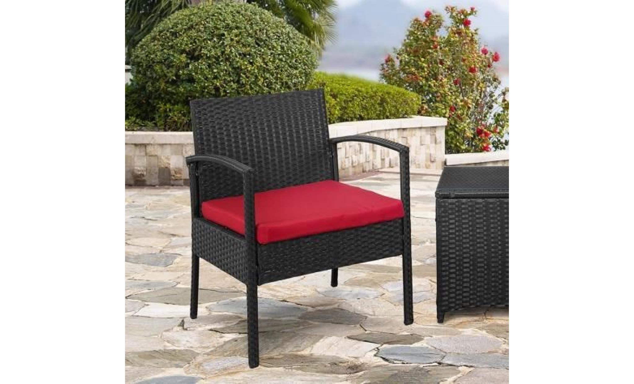 Ensemble 2 fauteuils table basse en r sine tresse noir - Table de jardin tresse pas cher ...