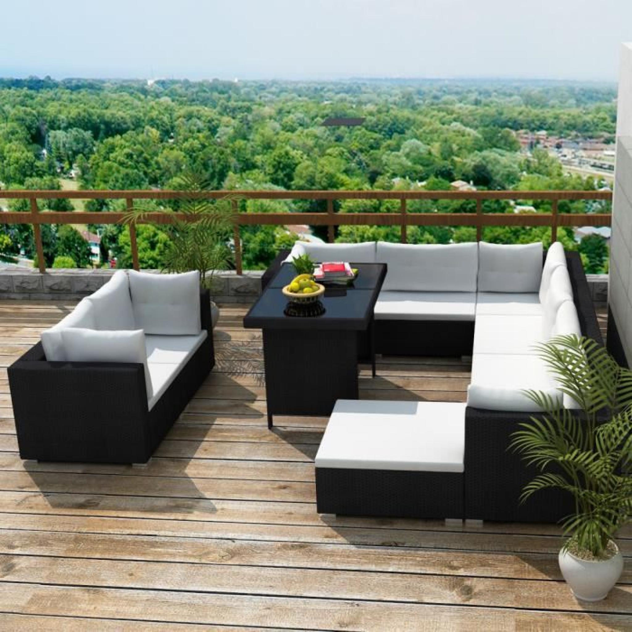 Ensemble 28pcs Salon en rotin et canapé/table/coussin/siège/pouf pour  jardin/patio meubles extérieur Noir