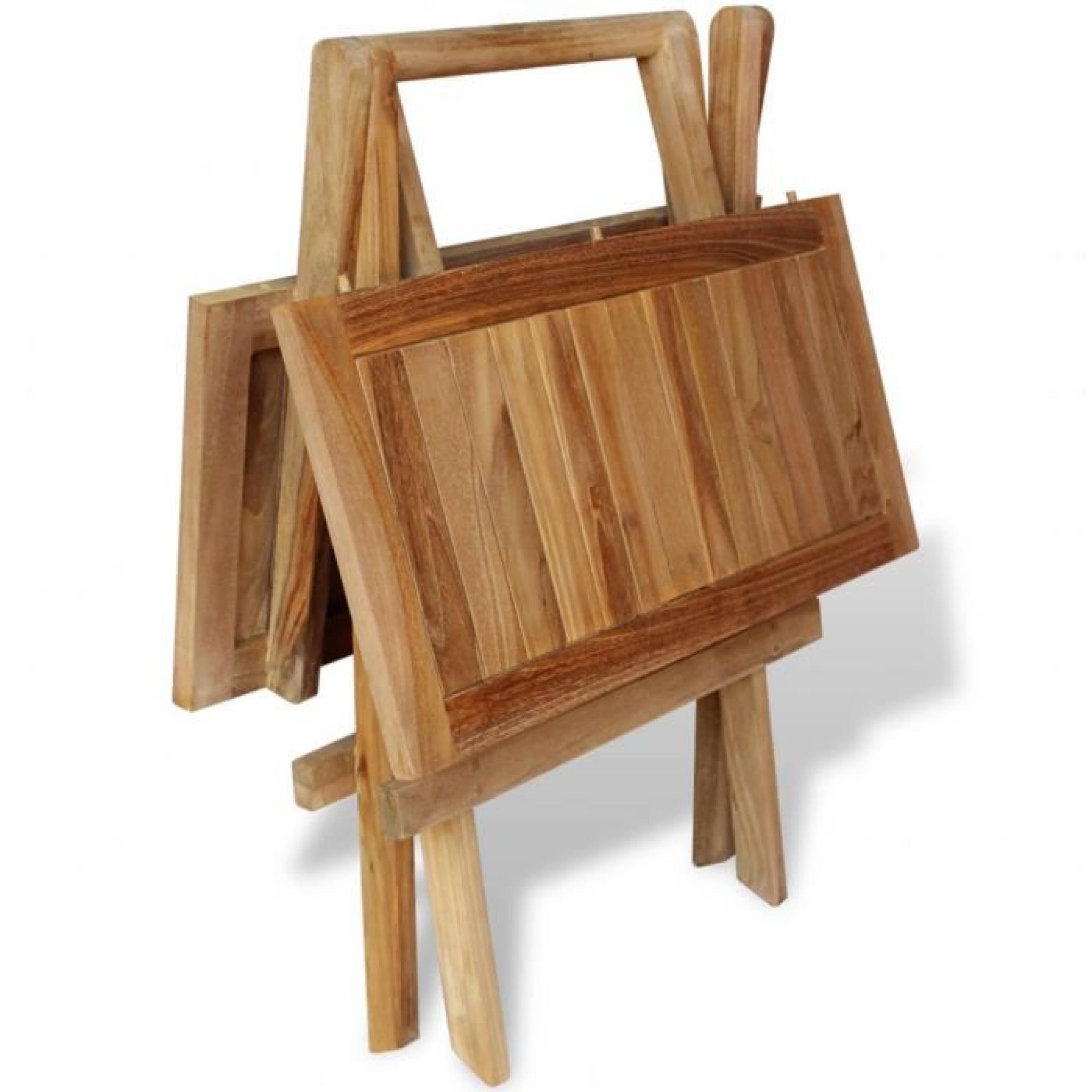 Ensemble 3pcs meuble 1 table et 2 chaises pliant de bistrot d 39 ext rieur jardin terrasse patio en for Ensemble table et chaise de jardin en bois pas cher