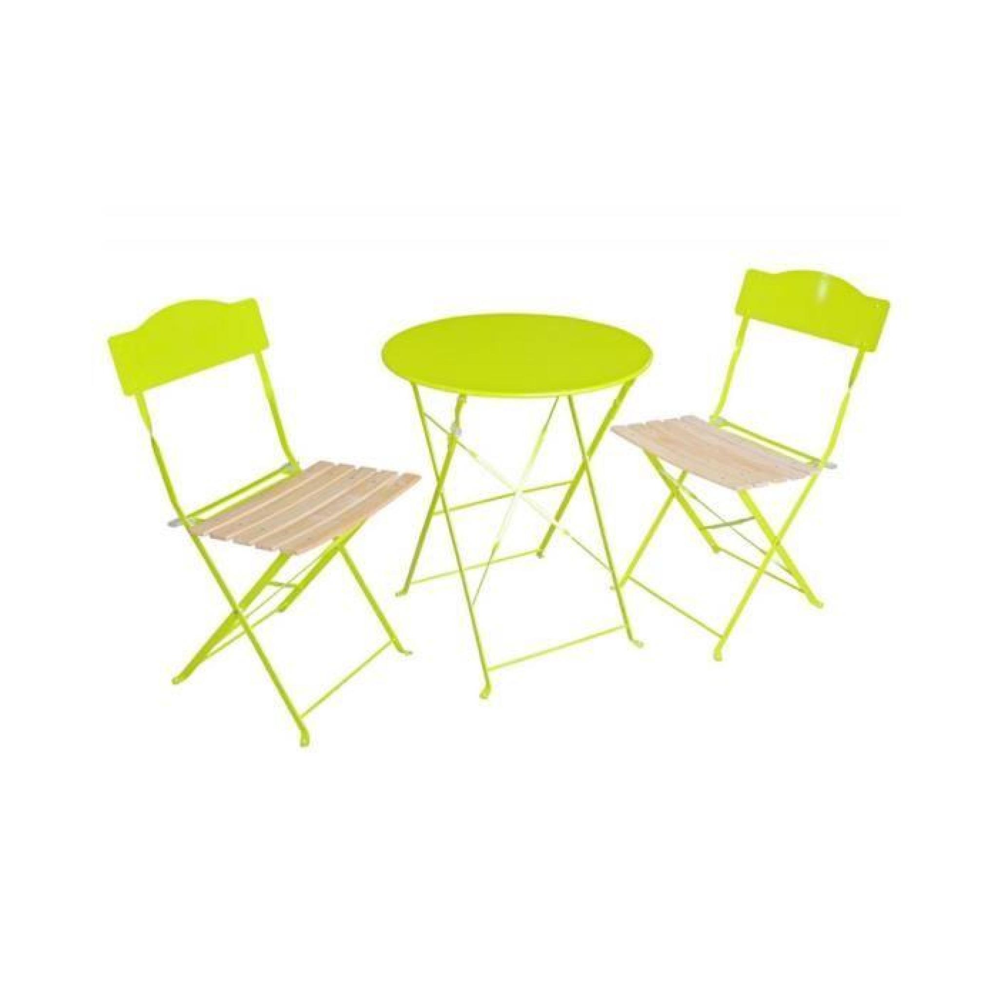 Ensemble bistro pliant helena vert achat vente salon de - Ensemble salon pas cher ...