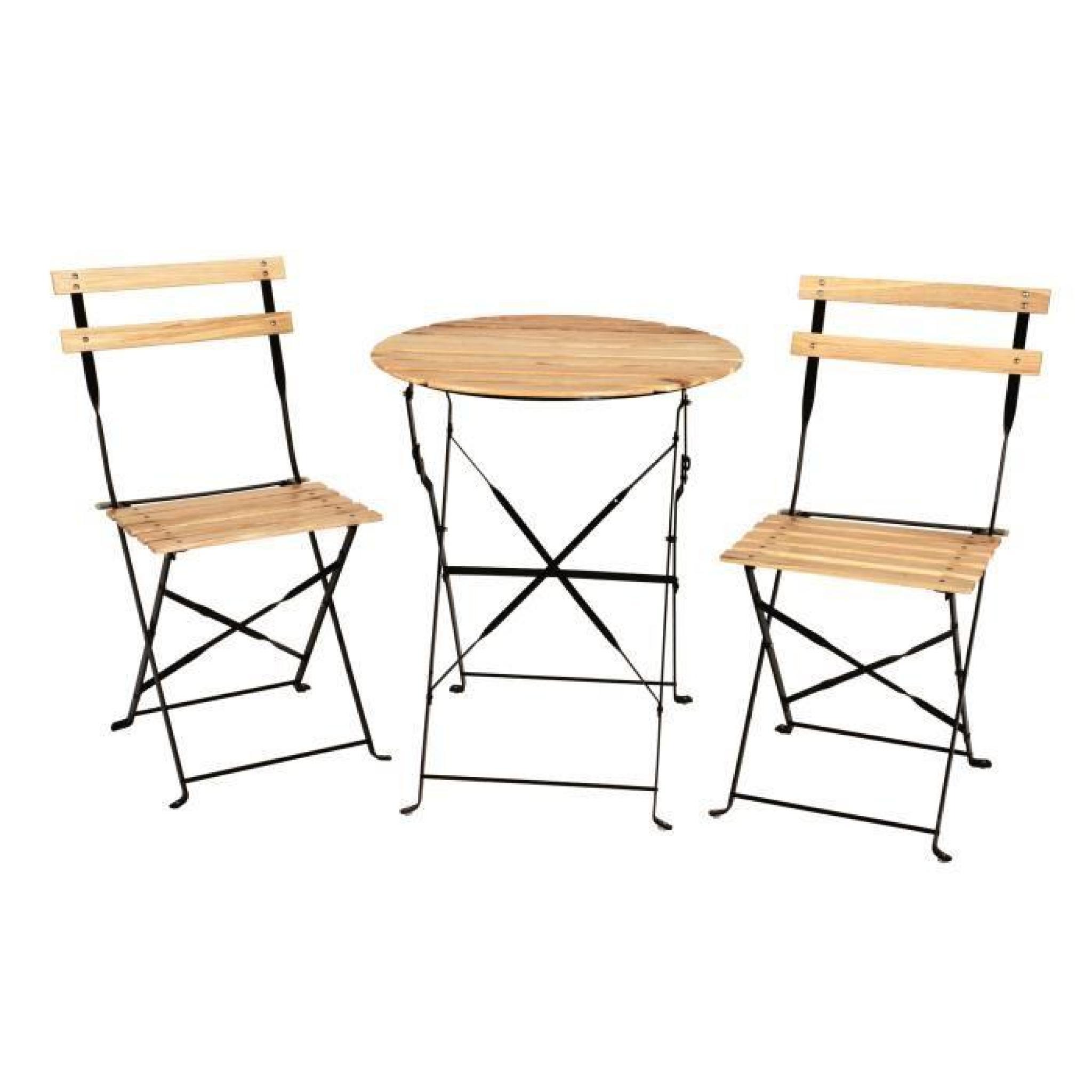 Ensemble bistro table + 2 chaises bois massif couleur naturel