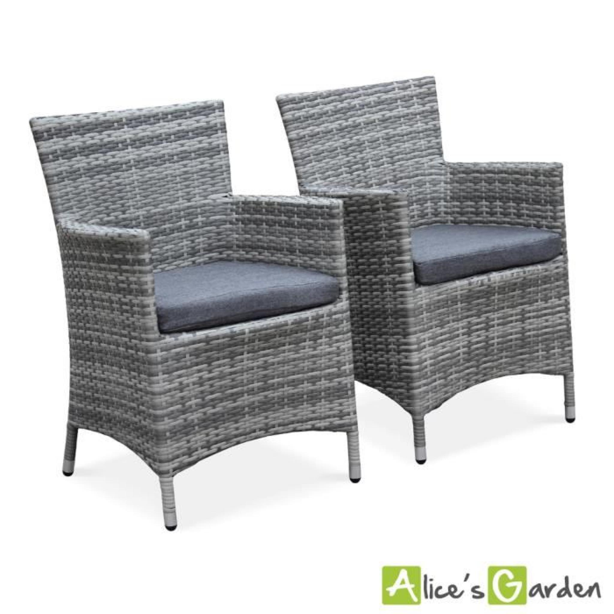 Ensemble de 2 fauteuils de jardin Palermo nuances de gris en résine  tressée, structure aluminium