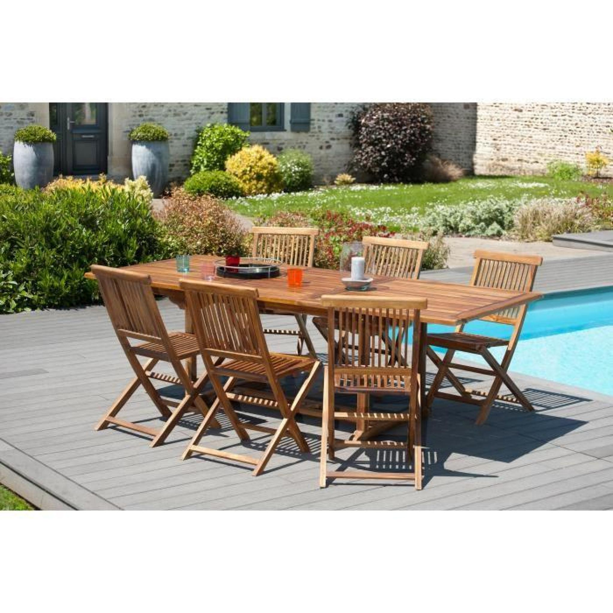 HAVANA Ensemble de jardin en bois teck huilé 10 places - Table extensible -  Marron