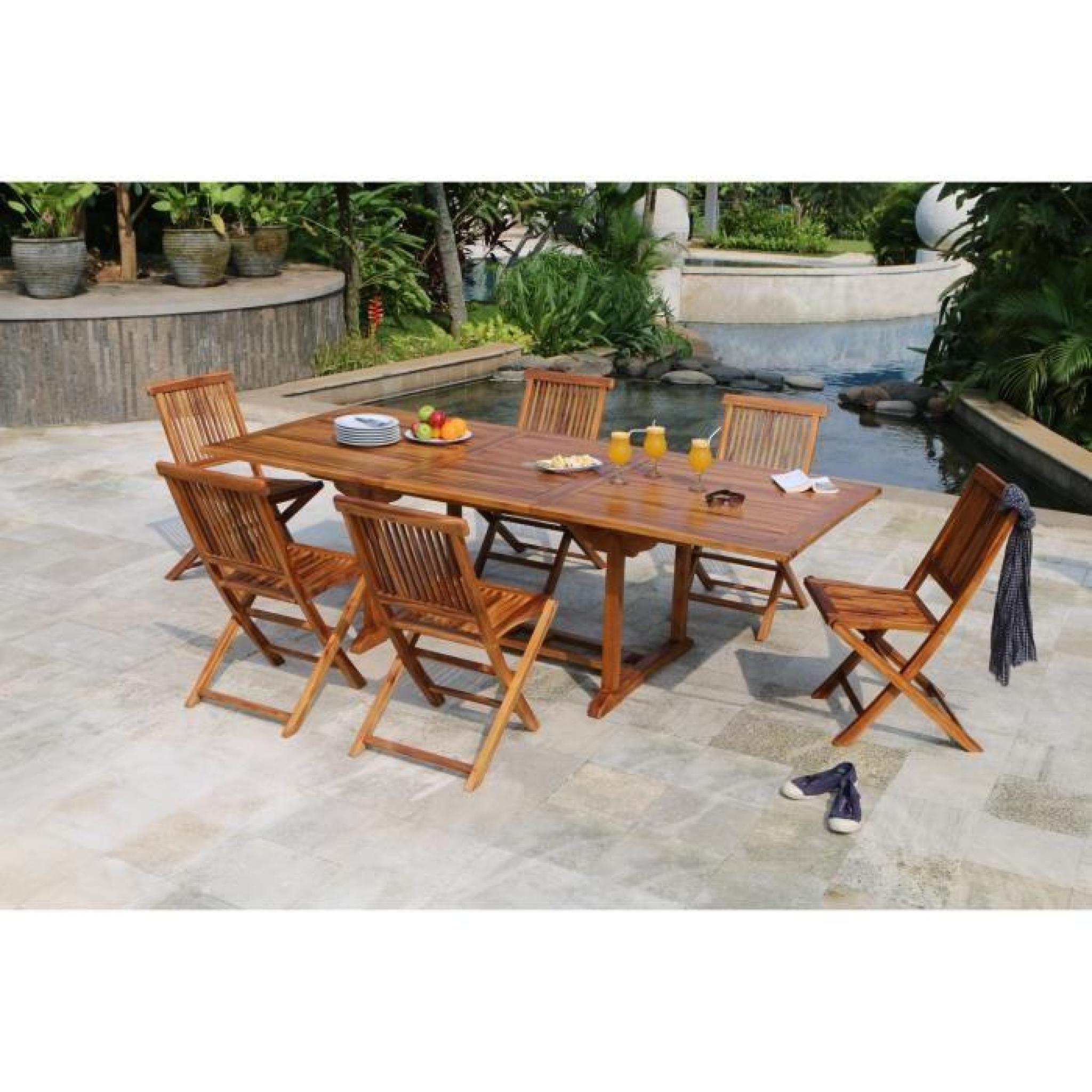 HAVANA Ensemble de jardin en bois teck huilé 10 places - Table ...