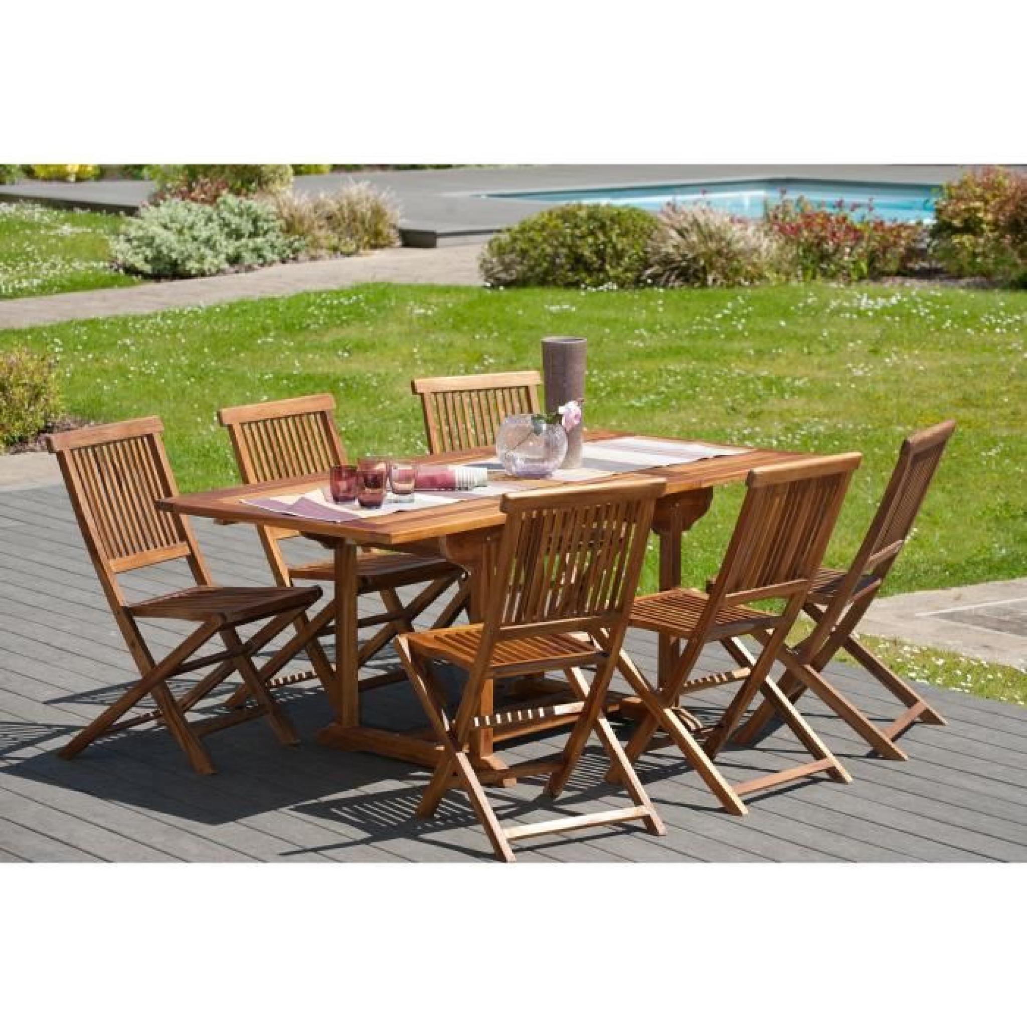 MILO Ensemble de jardin en bois teck huilé 6 places - Table extensible -  Marron