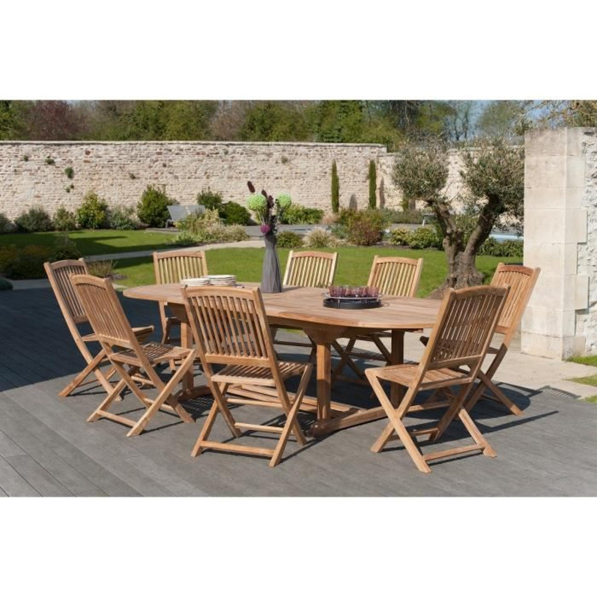 Ensemble en teck table ovale extensible de jardin 180 for Ensemble chaise table jardin