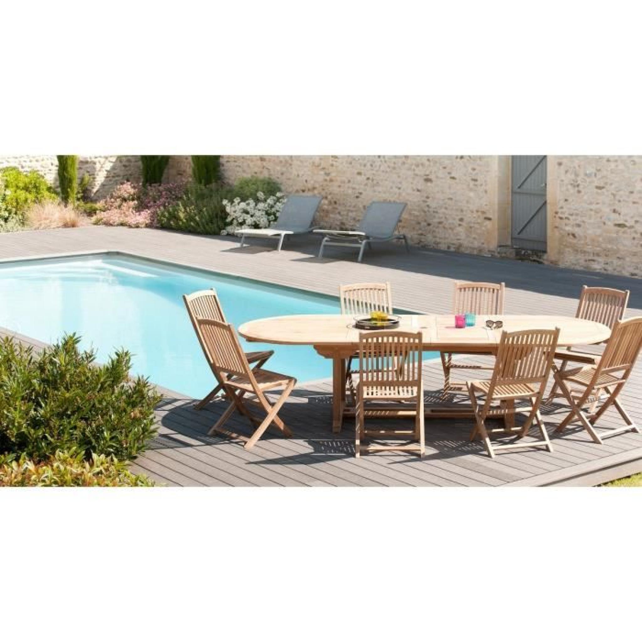 Ensemble en teck table ovale extensible de jardin 200 - 300 cm + 8 chaises