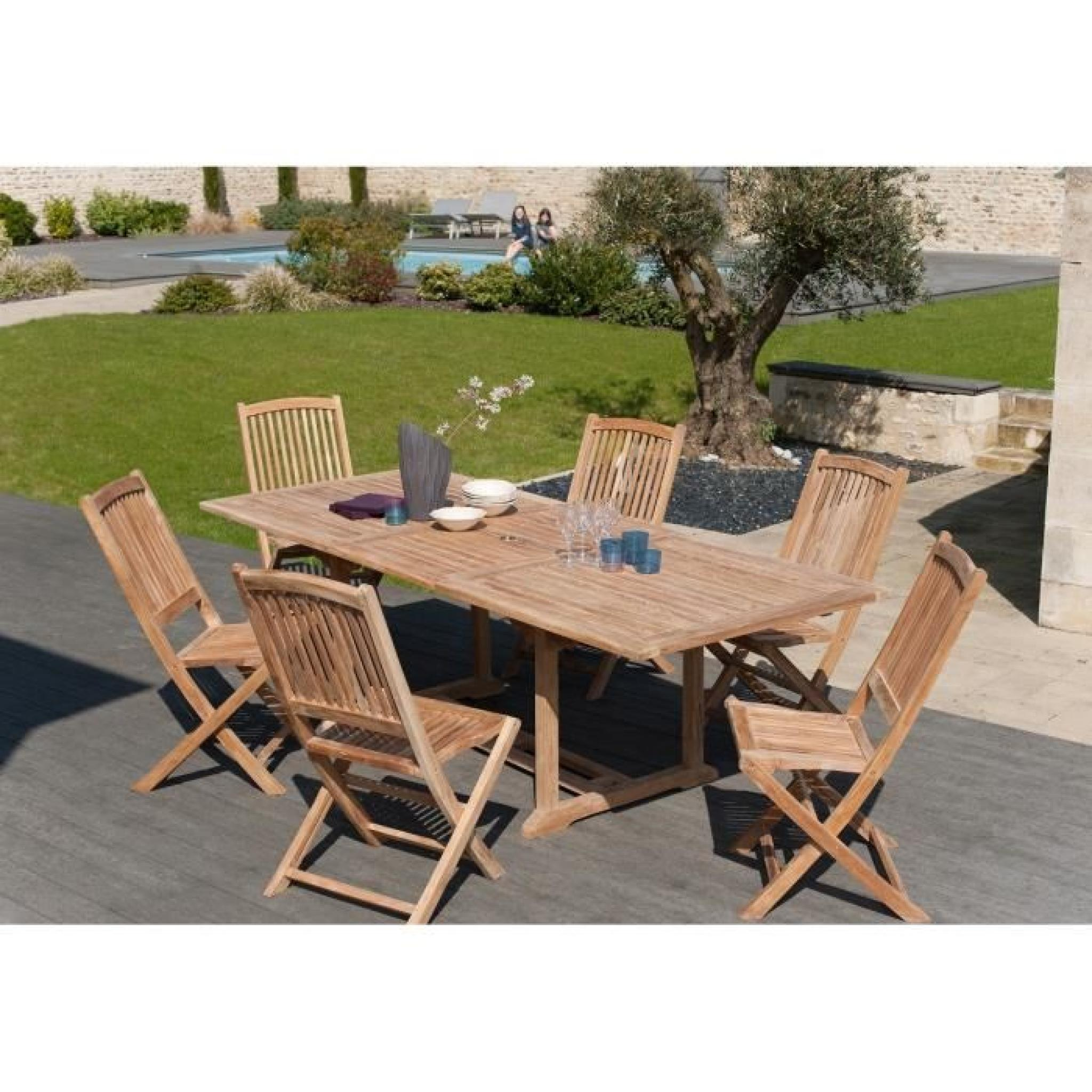 Ensemble en teck table rectangulaire extensible de jardin for Ensemble table et chaise de jardin en bois pas cher
