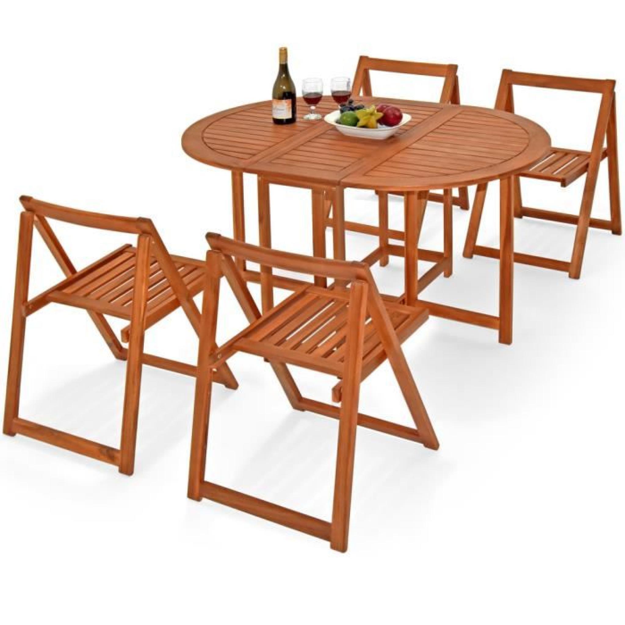 Set meuble balcon jardin 5 pièces bois acacia