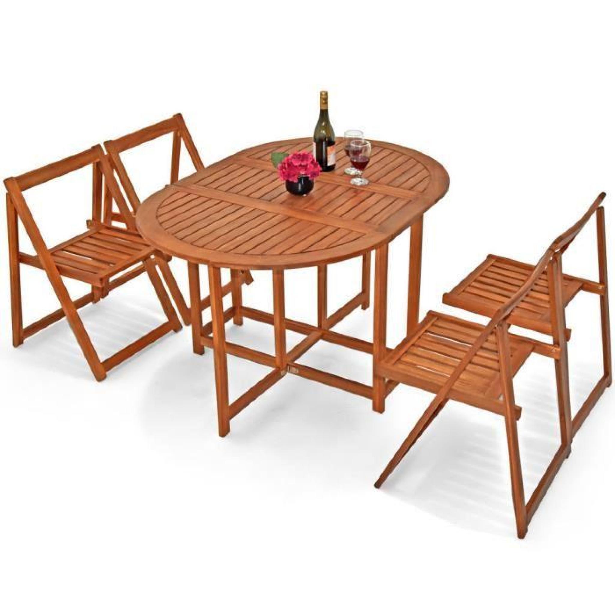 set meuble balcon jardin 5 pi ces bois acacia achat vente salon de jardin en bois pas cher. Black Bedroom Furniture Sets. Home Design Ideas