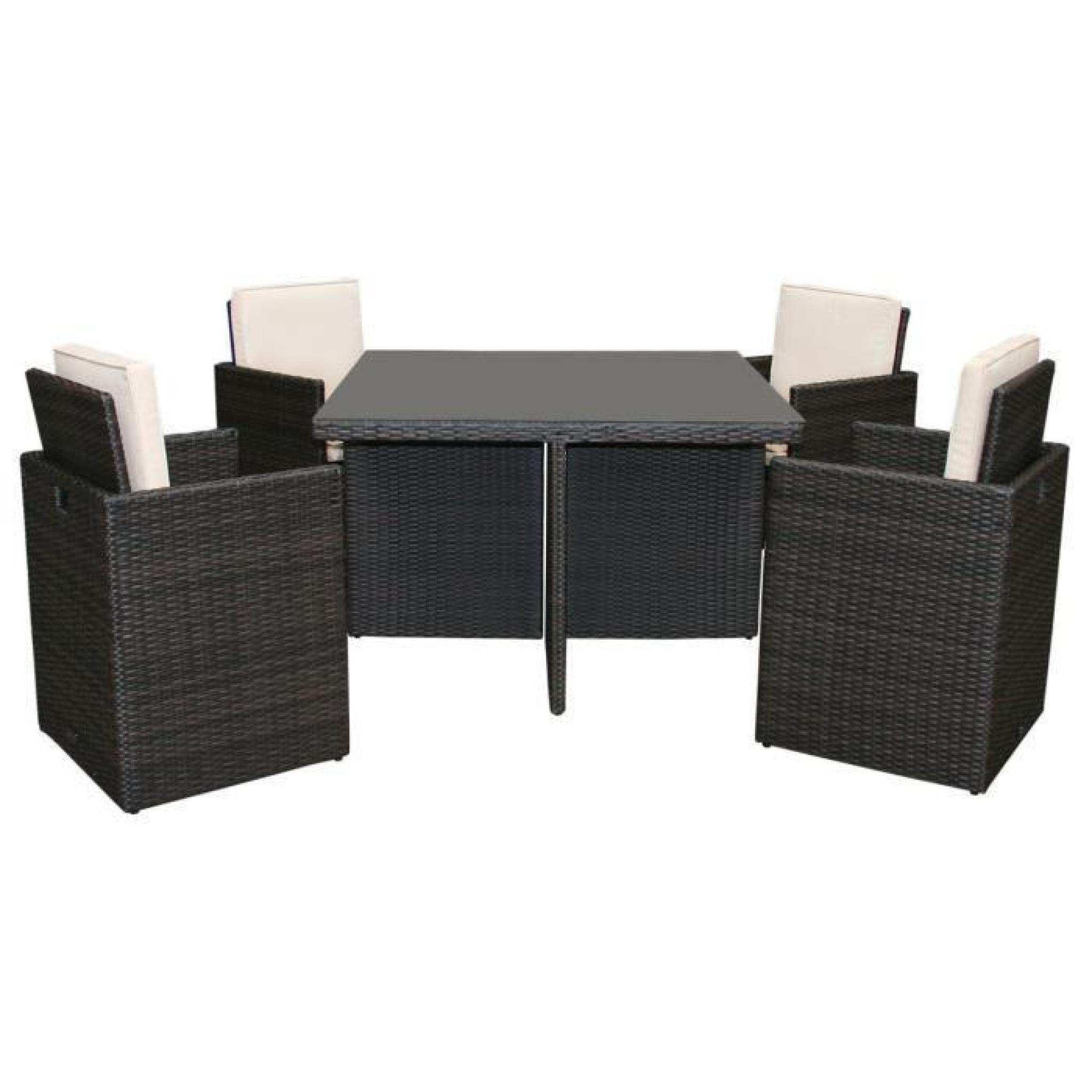Ensemble salon de jardin - 4 chaises et 1 table - imitation rotin ...