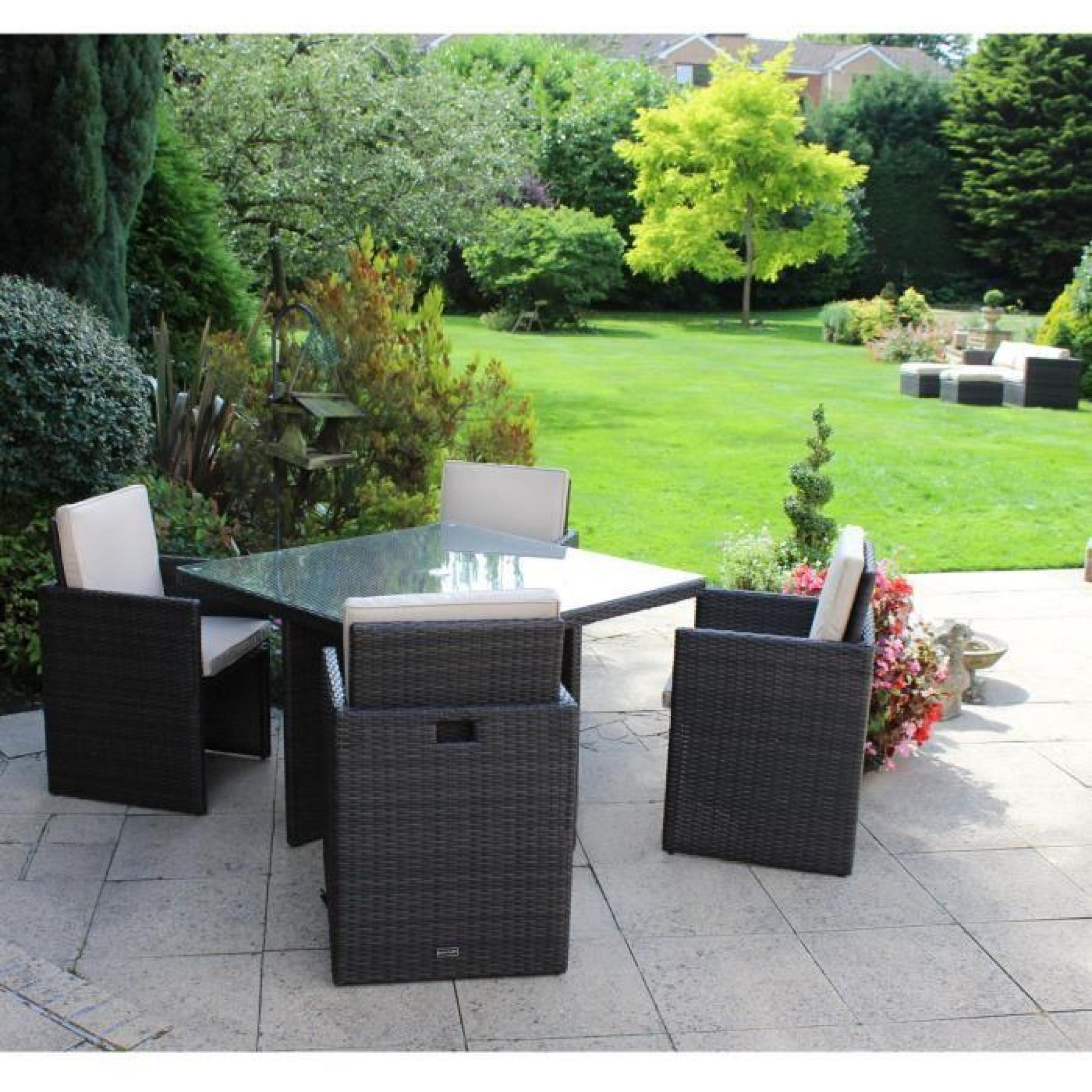 Ensemble salon de jardin - 4 chaises et 1 table - imitation rotin ...