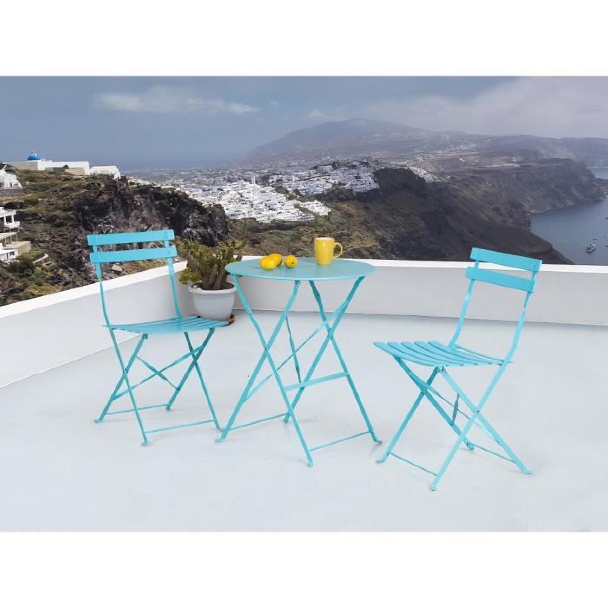 Fiori Et Chaises De Jardin Table En Ensemble 2 Acier Bleu rdxBCoe
