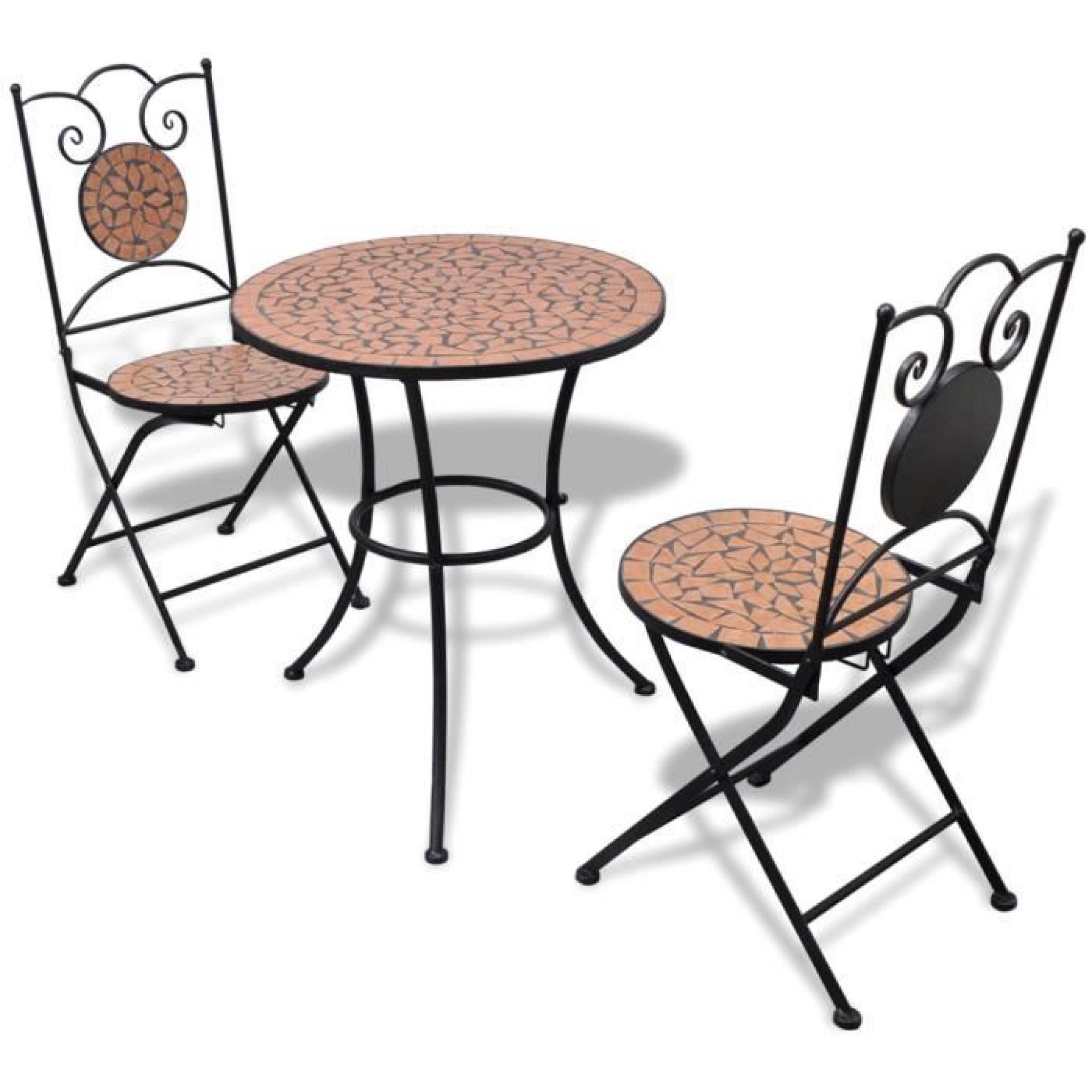 Ensemble Table et 6pcs Chaises motif mosaïque pour jardin patio ou balcon  bistrot couleur Blanc et terre cuite