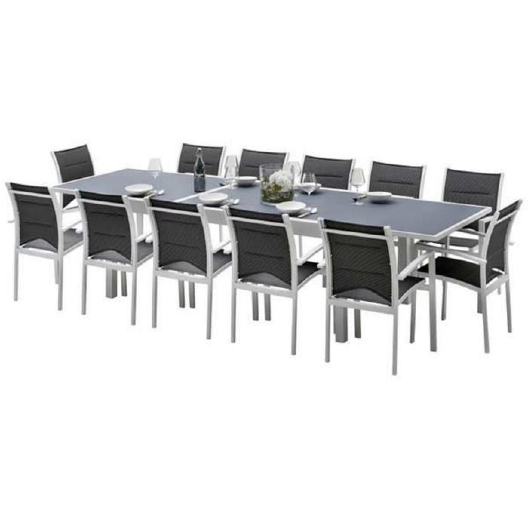 Ensemble table et chaises de jardin MODULO 12 PLACES BLANC-GRIS ...