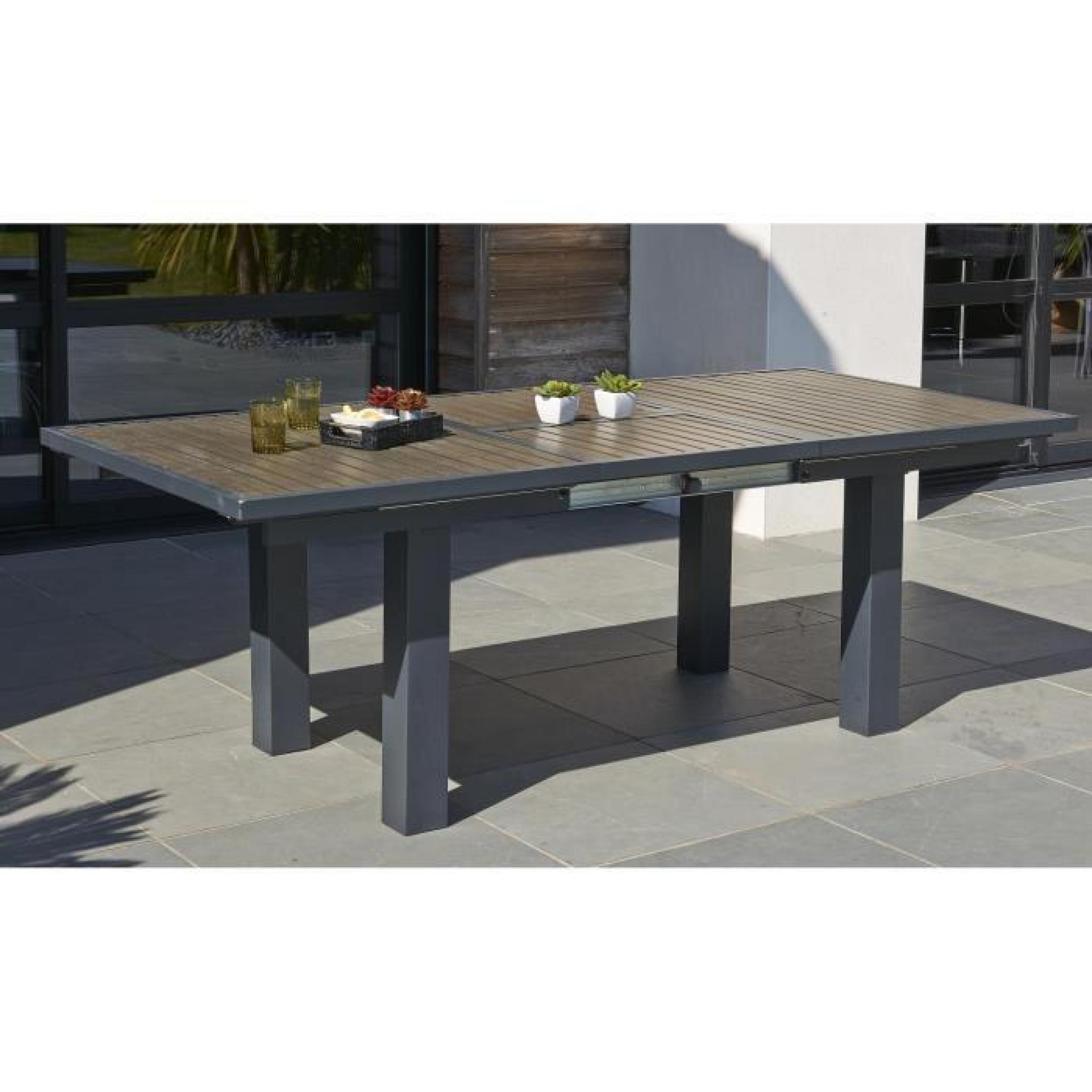 Extensible Aluminium Chaises Table Pliantes Ensemble De Cm6 220 Gris Jardin 160 Composite 3FTul1JKc