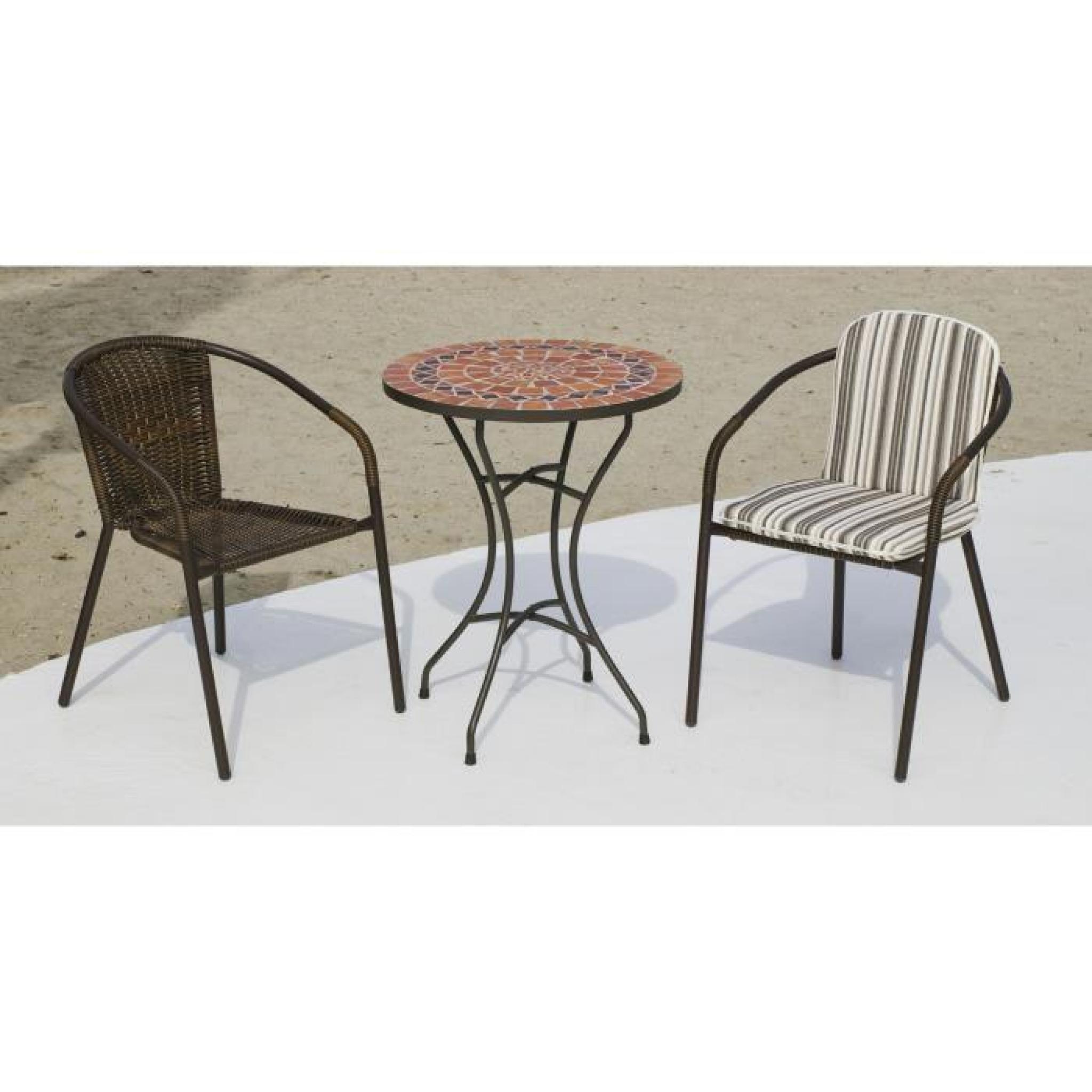 Ensemble tables et chaises Set oberoy-brasil Acier-mosaique-resine ...