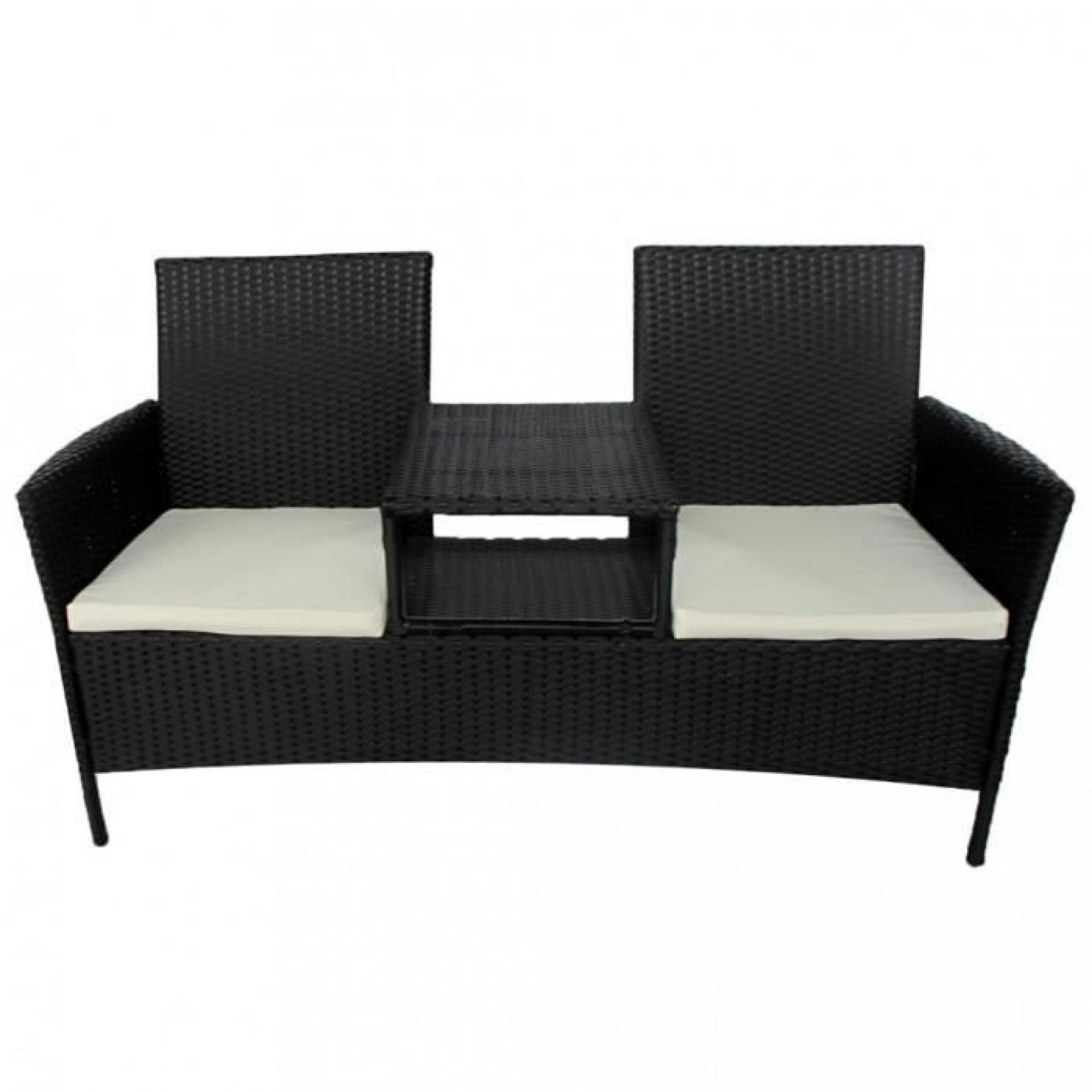 Ensembles de meubles d'exterieur Canape 2 places en poly rotin noir avec table a the