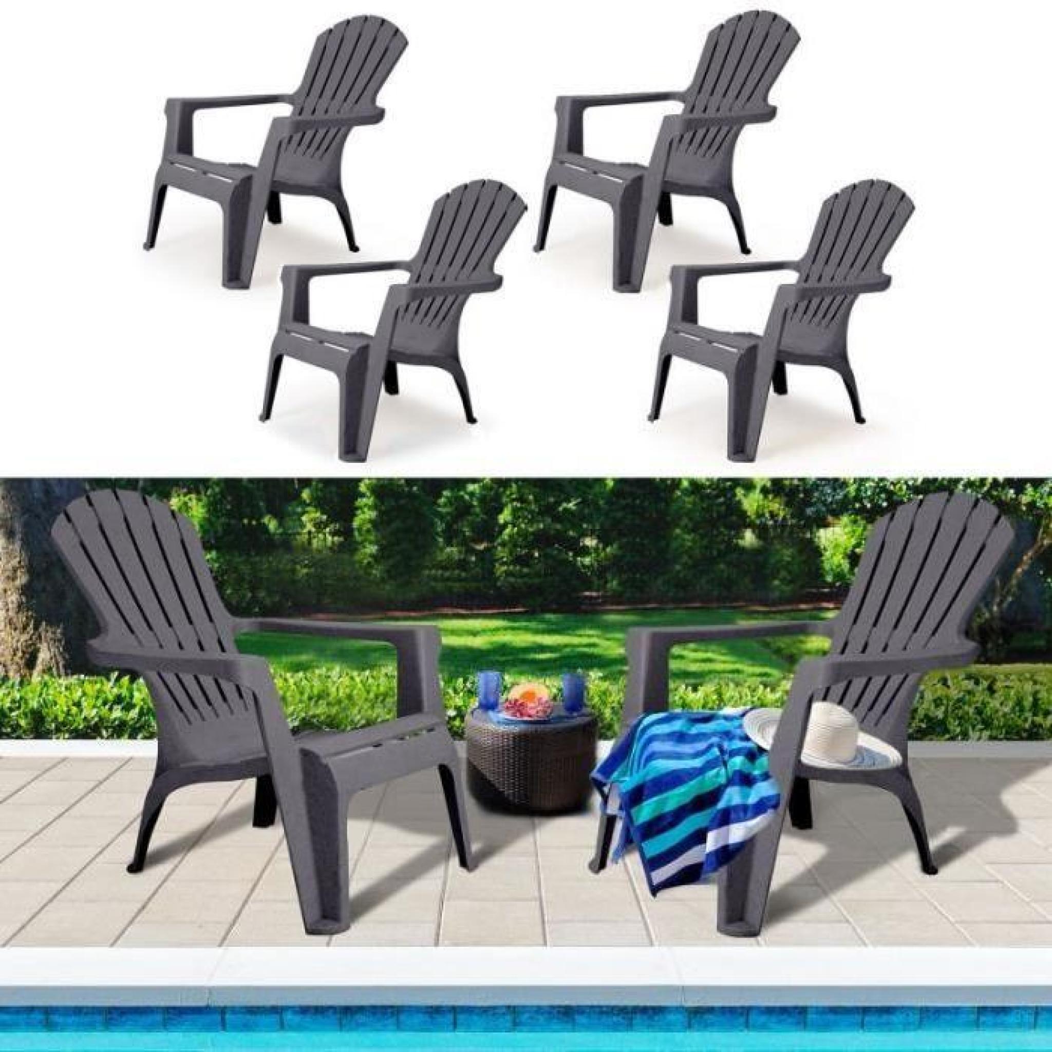 fauteuil chaise de jardin confort lot x4 gris achat vente fauteuil de jardin relaxation pas