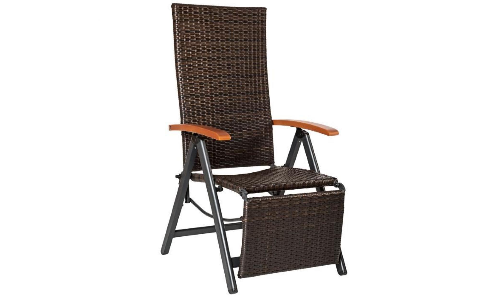tectake fauteuil chaise longue de relaxation réglable pliant avec 1 repose pieds en résine tressée 69 cm x 58 cm x 113 cm marron