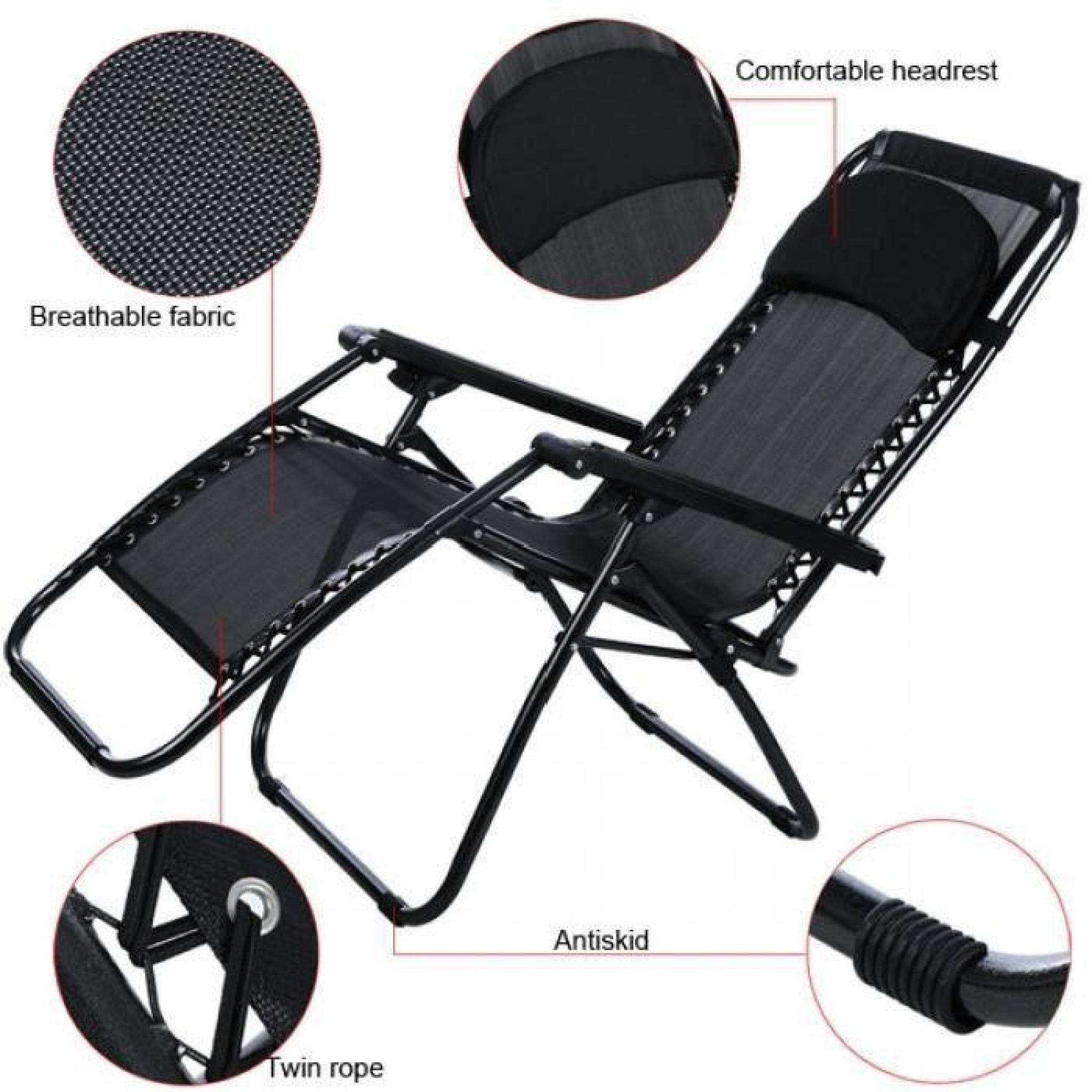 fauteuil pliant Zero Gravity inclinable salon Portable jardin ...