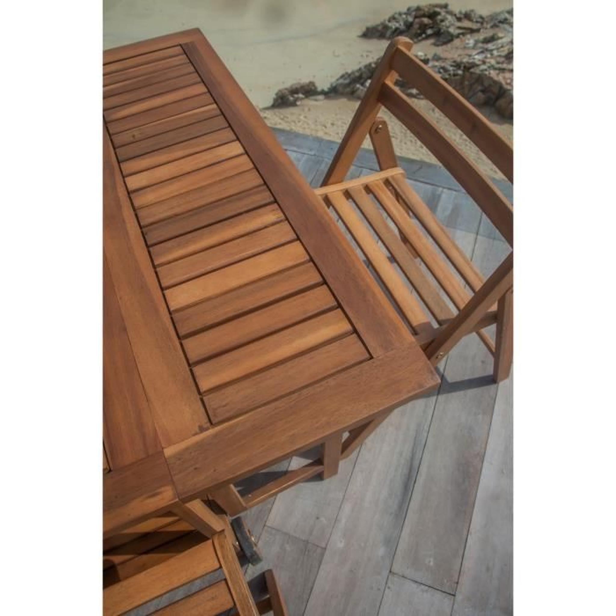 FINLANDEK - Table 4 places modulable et rangement en eucalyptus ...