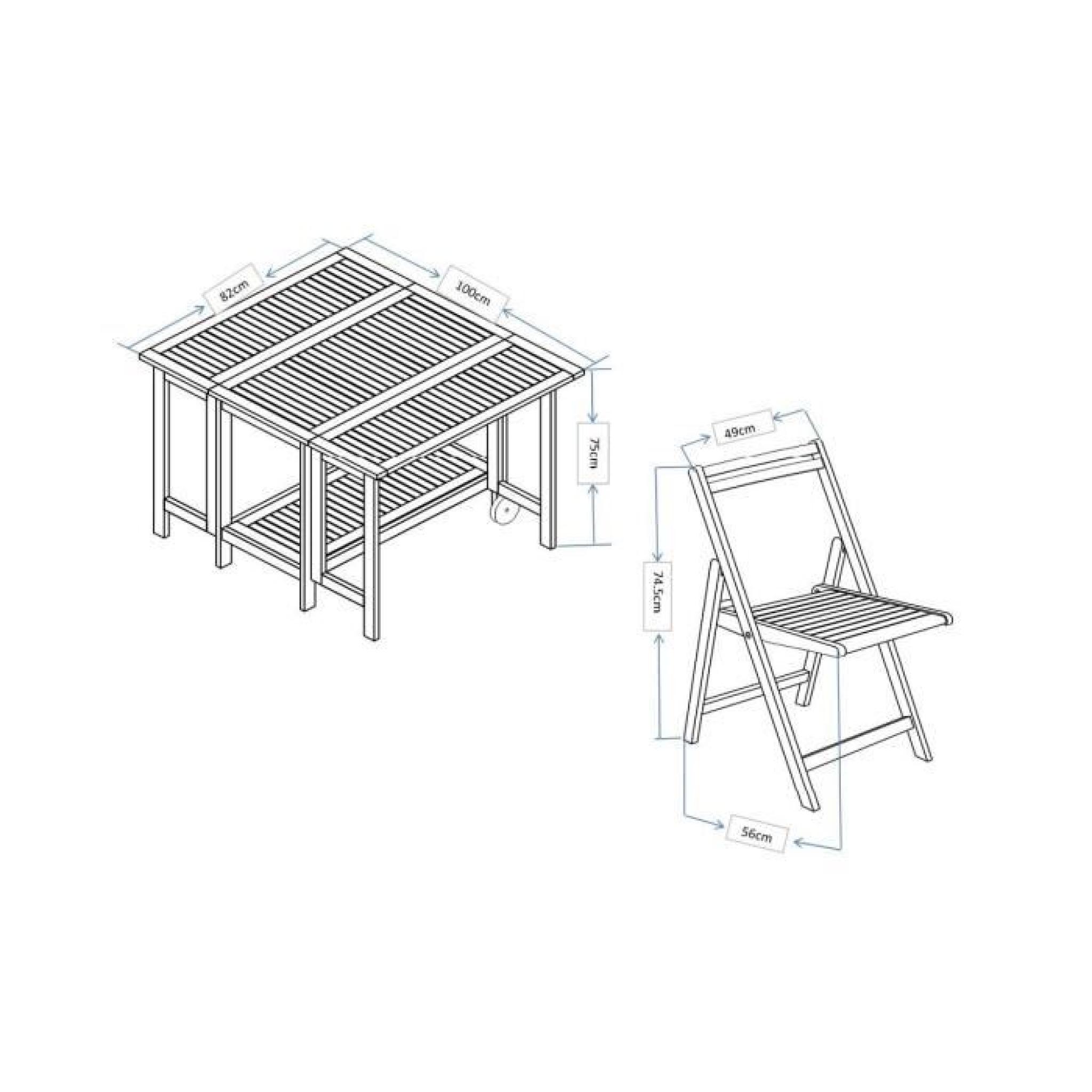 Finlandek Table 4 Places Modulable Et Rangement En Eucalyptus