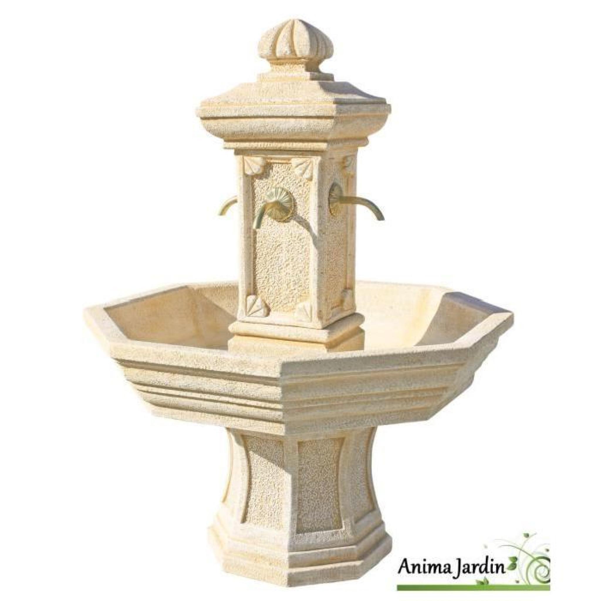 Fontaine adonis ocre en pierre reconstitu e h 155 achat - Petite fontaine de jardin pas cher ...