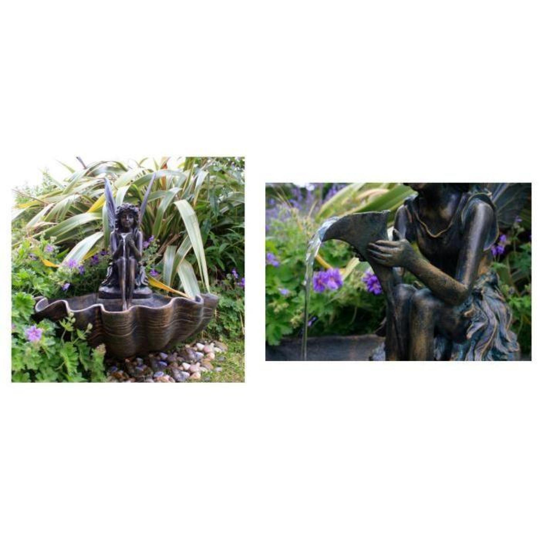 Fontaine De Jardin Solaire Fee Sur Coquillage Eclairage Led