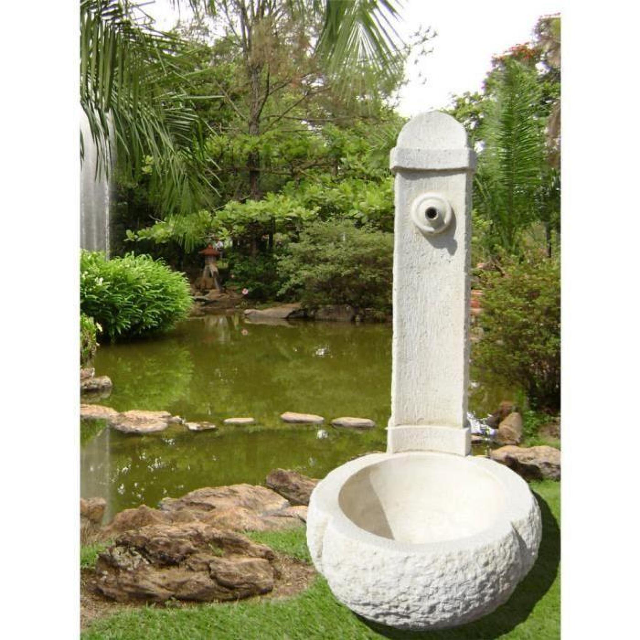 Fontaine en pierre blanche reconstitu e 95x45x45cm achat for Deco jardin pierre blanche