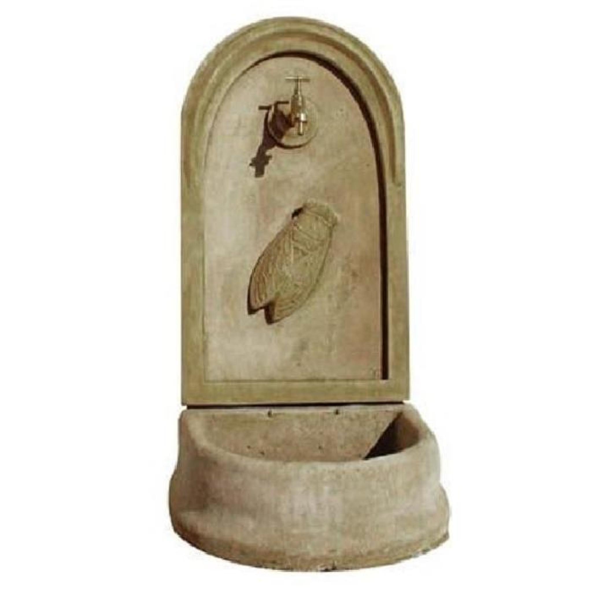 fontaine murale en pierre mod le cigale achat vente decoration de jardin pas cher. Black Bedroom Furniture Sets. Home Design Ideas